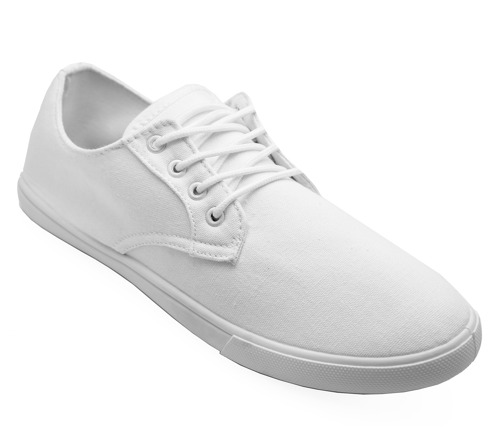 MENS-LACE-UP-WHITE-CANVAS-FLAT-TRAINER-PLIMSOLL-PUMPS-CASUAL-SHOES-SIZES-6-12 thumbnail 8