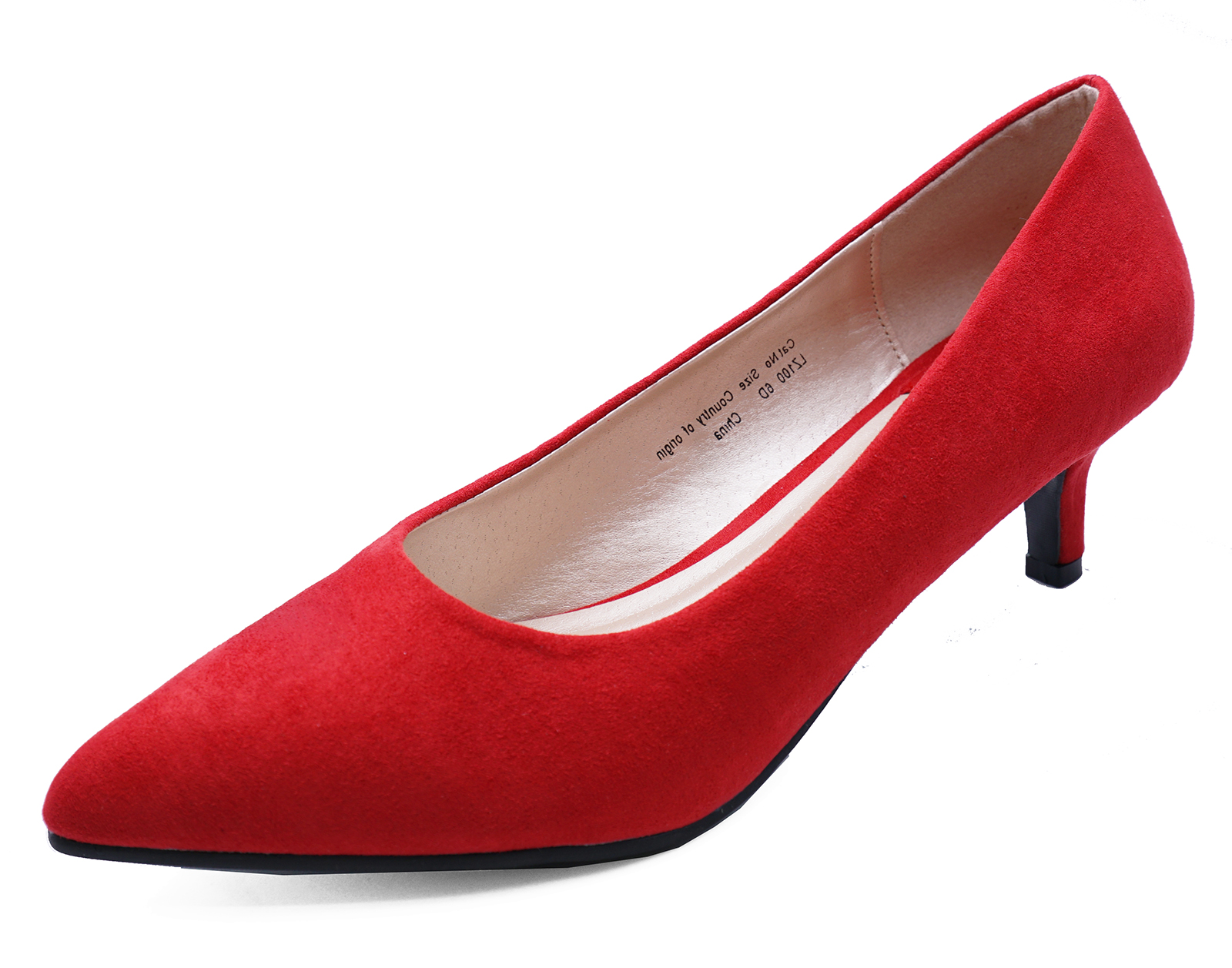 ccdb959baba Sentinel LADIES RED SLIP-ON KITTEN LOW-HEEL SMART WORK CASUAL COMFY COURT  SHOES SIZES