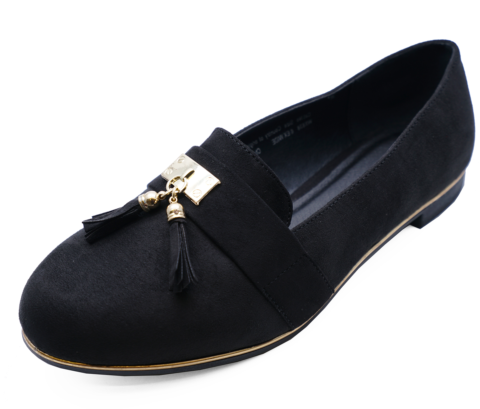 4865439b48f Details about LADIES BLACK WIDE-FIT EEE FLAT SLIP-ON LOAFERS COMFY WORK  SHOES PUMPS SIZES 4-9