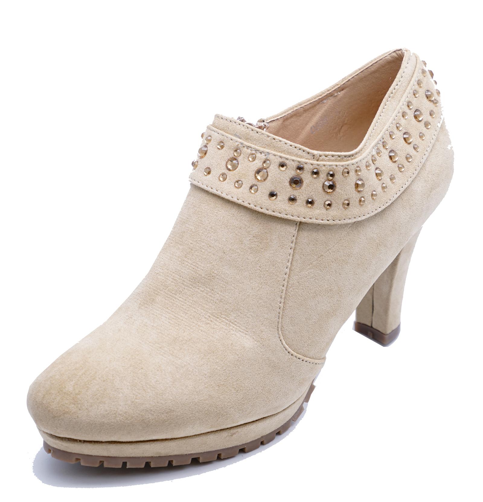 Work Botas up tacón Zip de UK beige mujer Casual para Casual alto UK 8r8wFx5