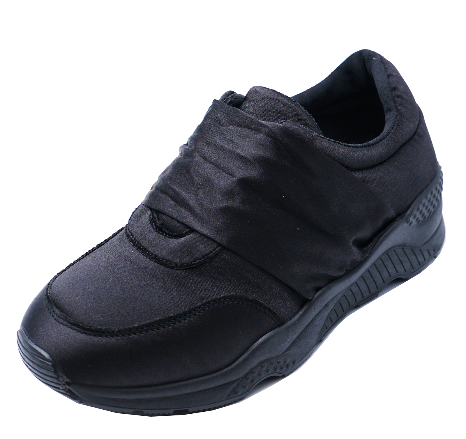 LADIES-BLACK-SATIN-SLIP-ON-TRAINERS-NURSE-PUMPS-PLIMSOLLS-FLAT-SHOES-SIZE-3-8