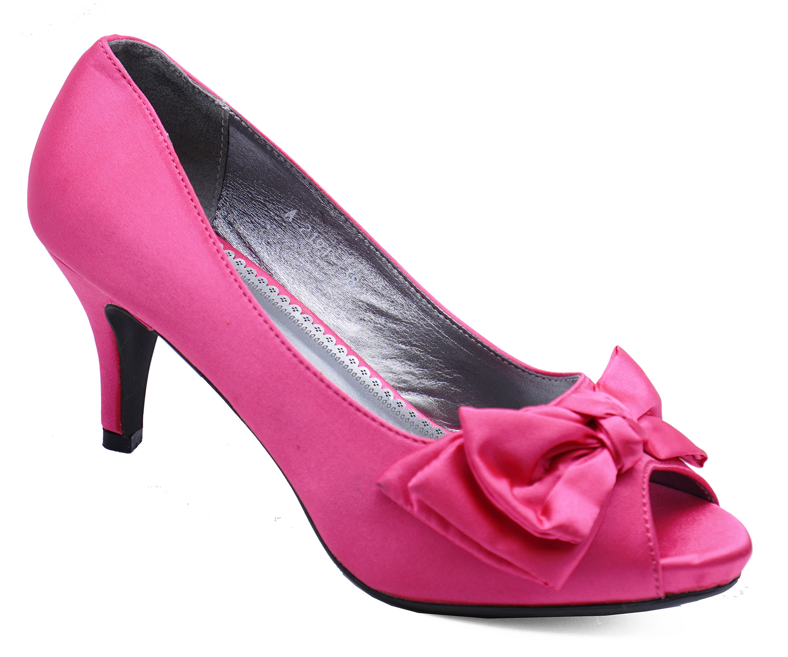a12b3d9958ce Sentinel FUSHIA PINK SATIN PEEP-TOE WEDDING BRIDAL PROM BRIDESMAID COURT  SHOES SIZES 3-8