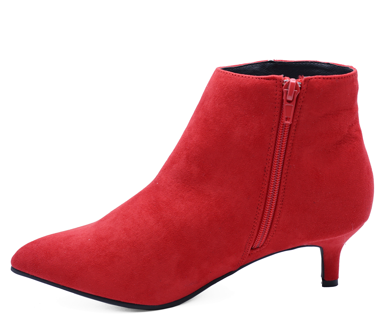 WOMENS RED ZIP UP KITTEN HEEL SUEDETTE WIDE FIT ANKLE BOOTS SHOES SIZES 3 9