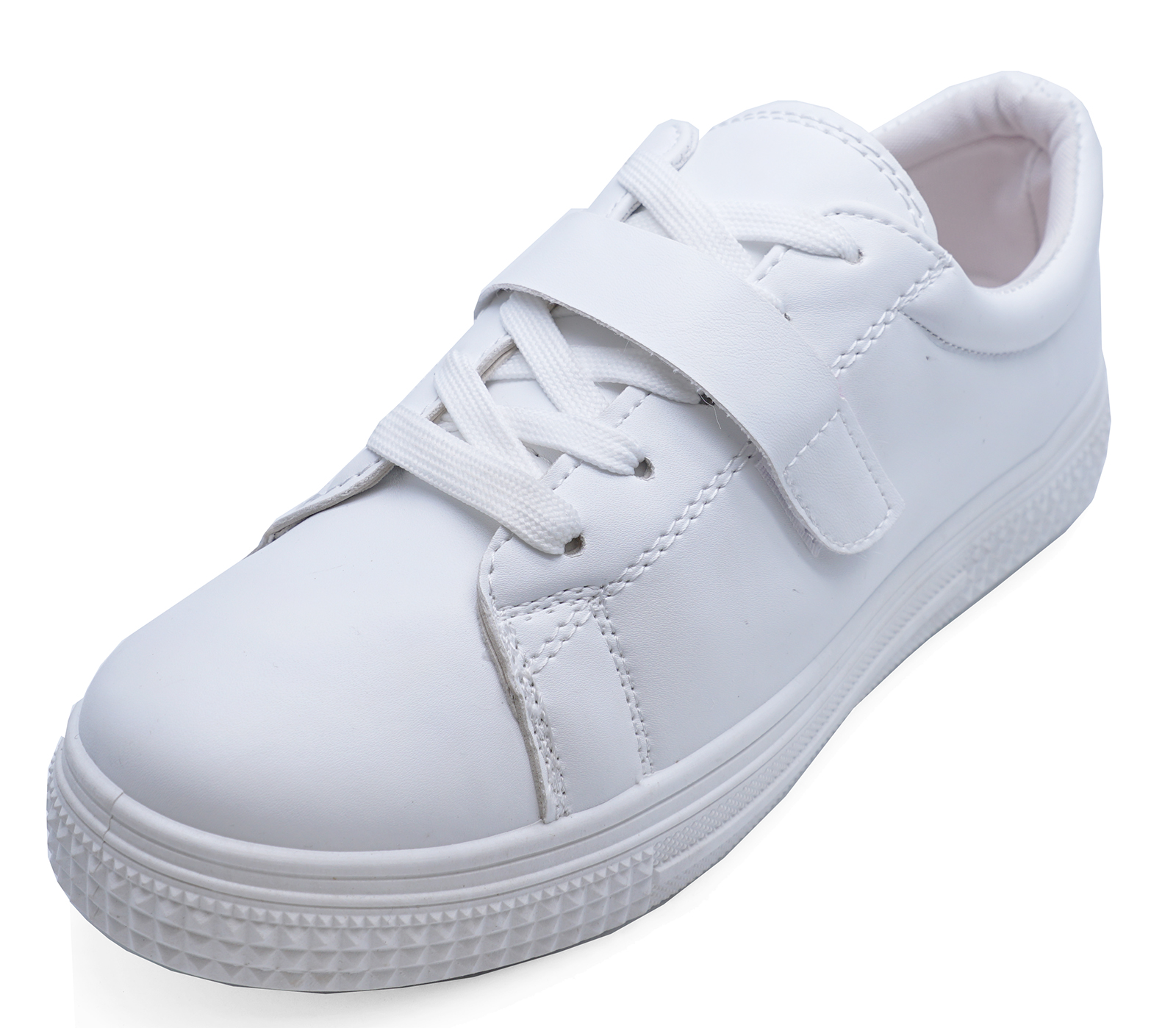 b8c173f405c Details about WOMENS FLAT WHITE LACE-UP TRAINERS PUMPS PLIMSOLLS CASUAL  SKATER SHOES UK 3-8