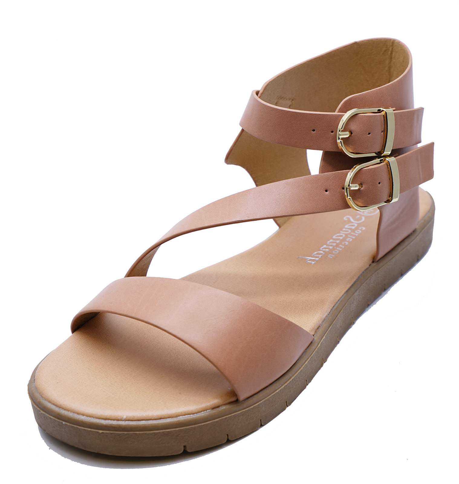 38615be55a5 Sentinel WOMENS NUDE FLAT GLADIATOR SUMMER SANDALS STRAPPY WALKING ANKLE SHOES  SIZES 3-8