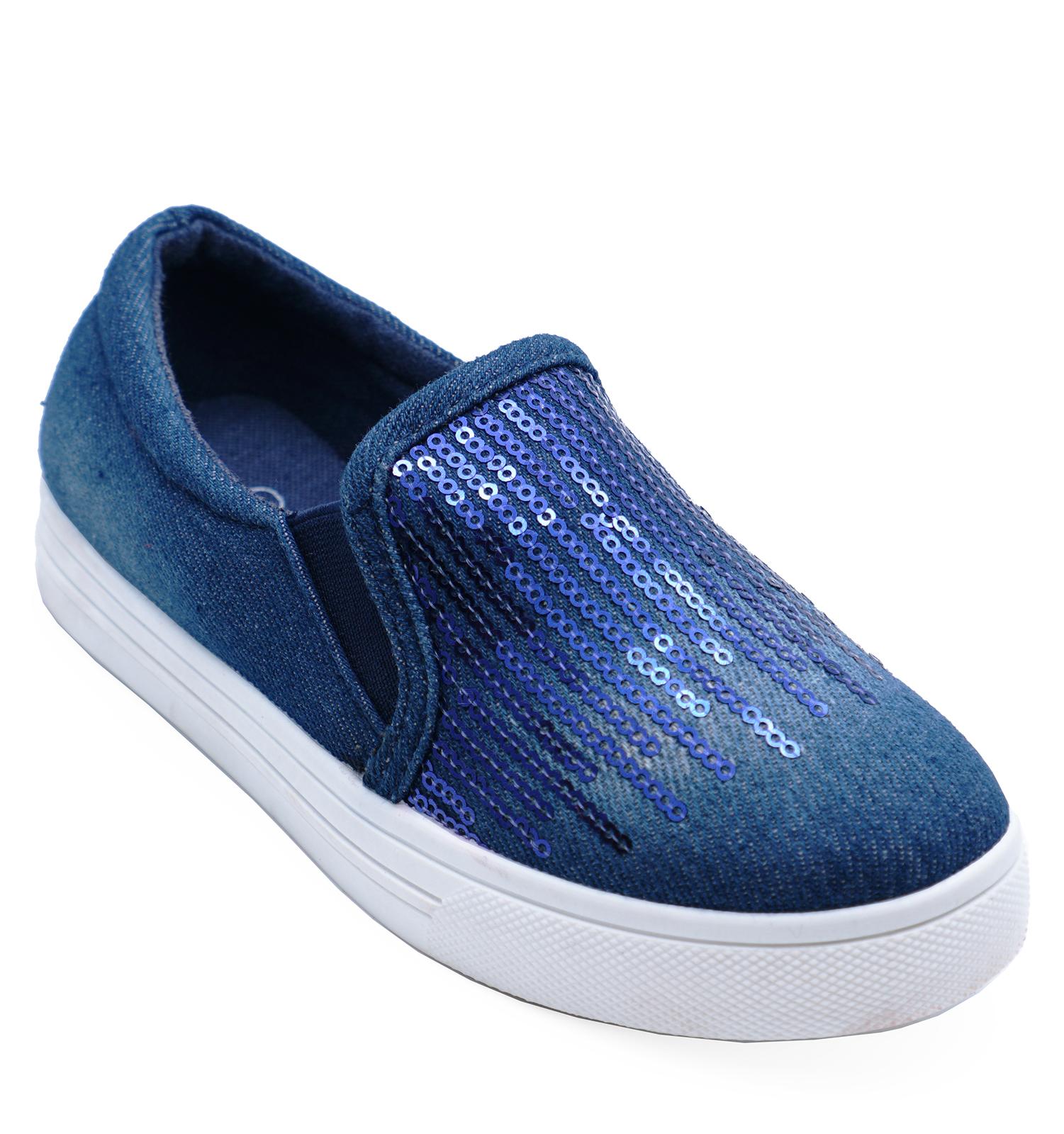 Ninos-Denim-Azul-Oscuro-Sin-Cordones-Comodo-Playera-bombas-Lentejuelas-Zapatillas-Zapatos-Talla-8-1