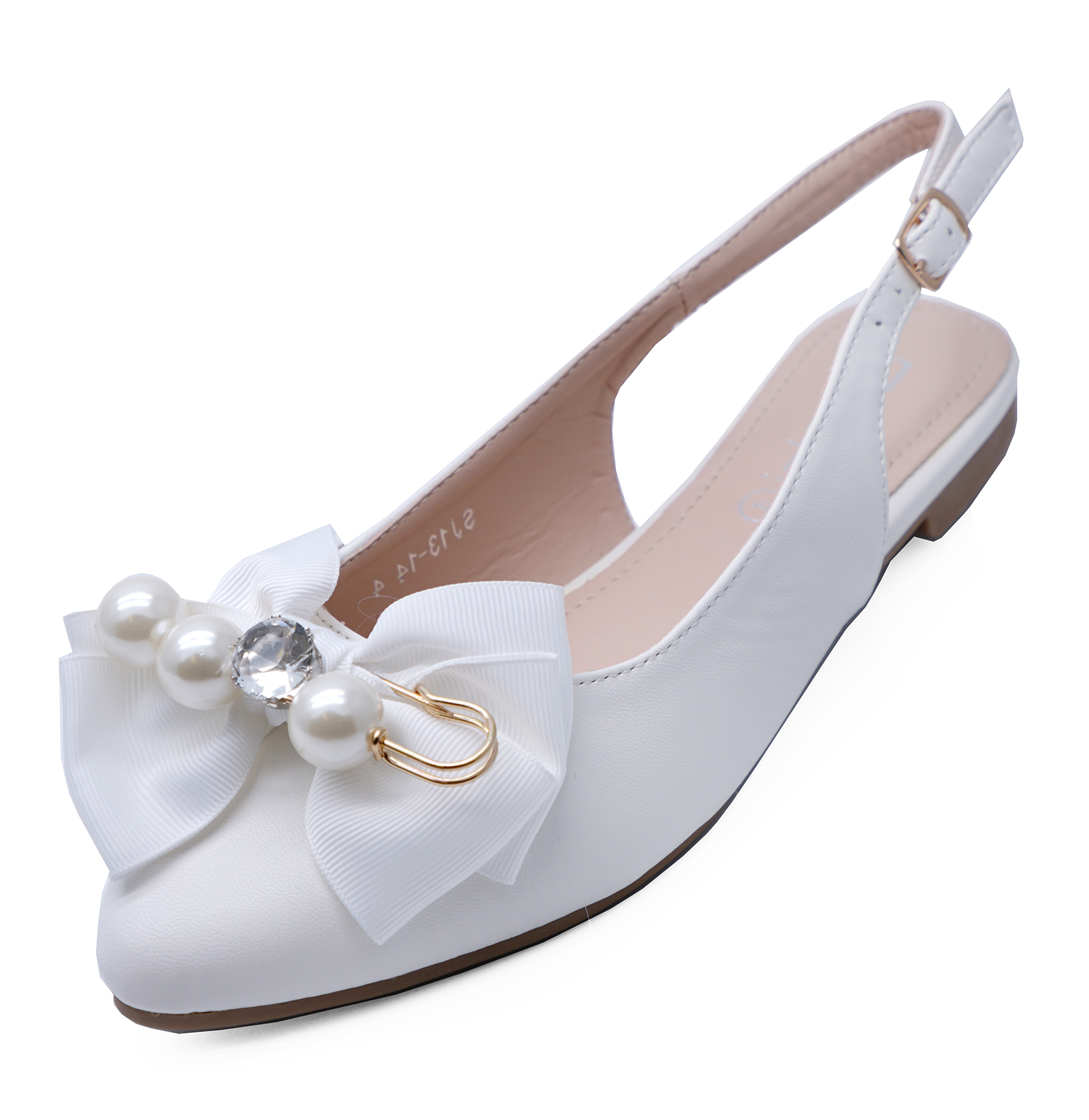 WOMENS-WHITE-SLIP-ON-SLINGBACK-FLAT-PUMPS-WEDDING-PARTY-COMFY-SHOES-SIZES-3-8 thumbnail 6