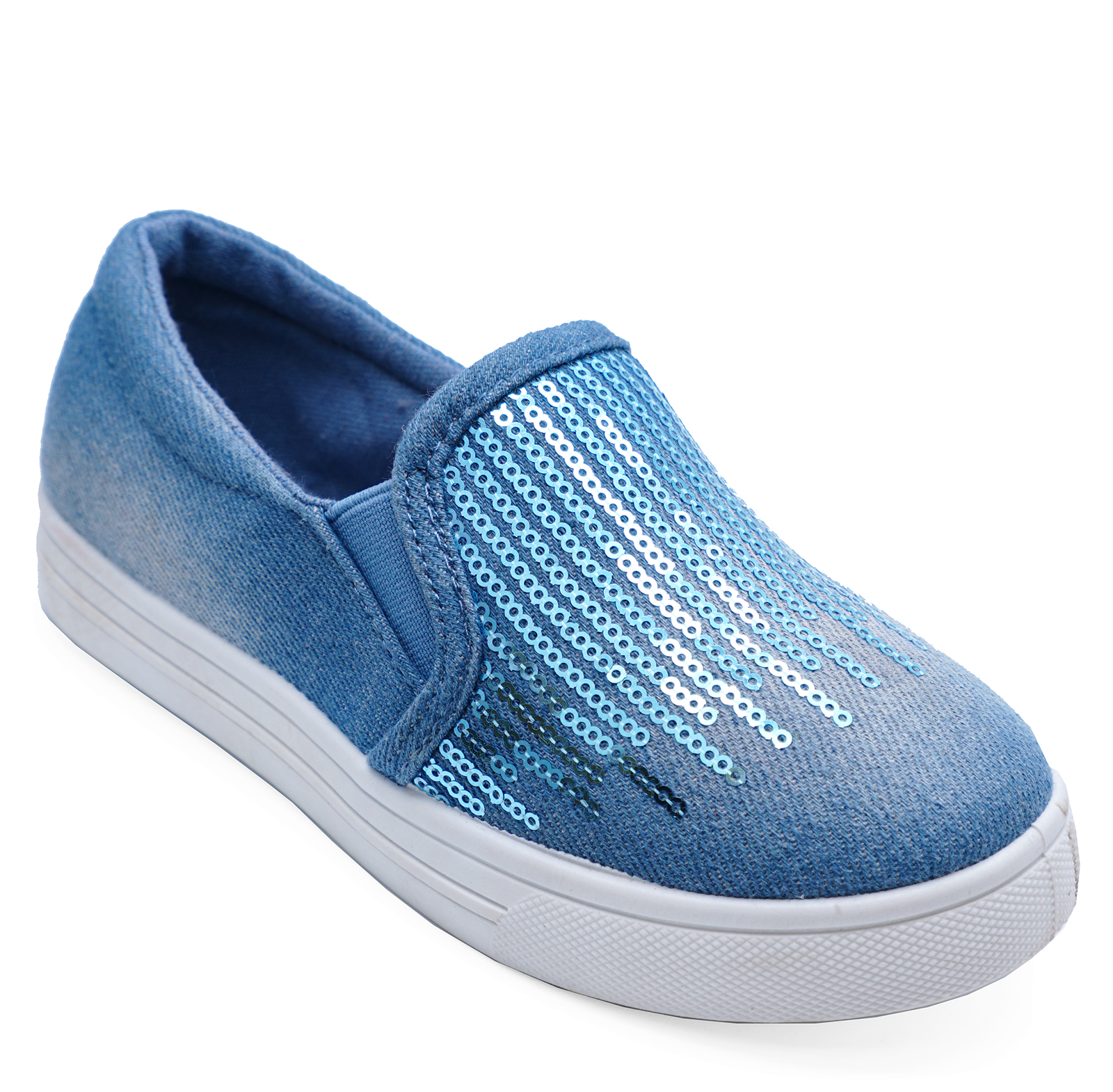 CHILDRENS-KIDS-GIRLS-BLUE-SLIP-ON-CASUAL-SHOES-TRAINERS-DANCE-PUMPS-SIZES-8-1 thumbnail 4