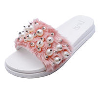 View Item LADIES PINK FAUX-FUR SLIP-ON SLIDERS COMFY FLAT MULES SANDALS SHOES SIZES 4-8