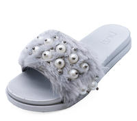 View Item LADIES GREY FAUX-FUR SLIP-ON SLIDERS COMFY FLAT MULES SANDALS SHOES SIZES 4-8
