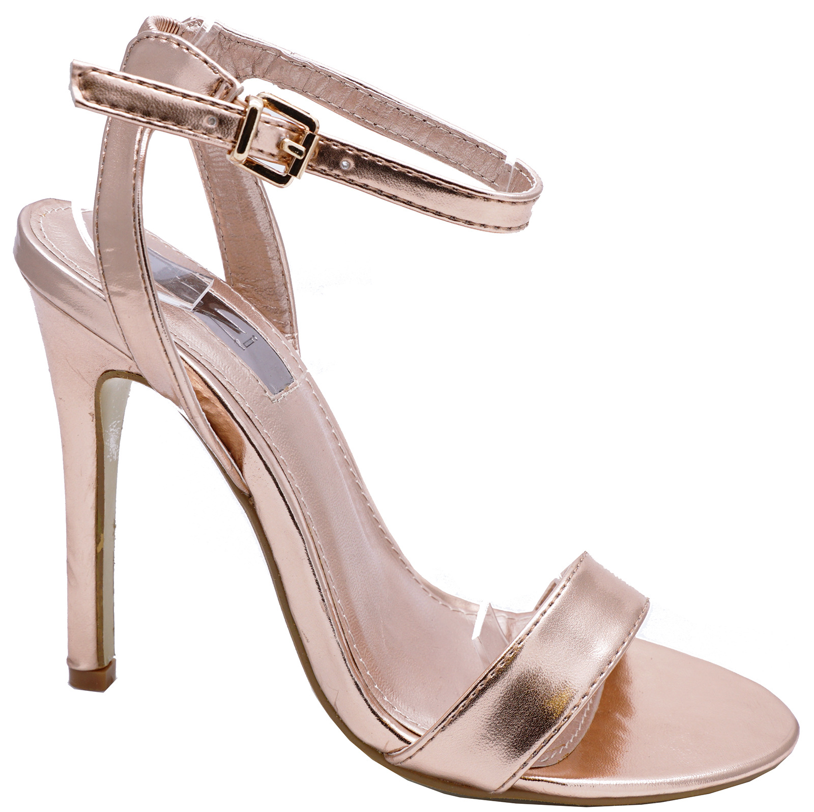 fe664686d Sentinel LADIES ROSE GOLD ANKLE-STRAP ELEGANT PEEPTOE SANDALS WEDDING PARTY  SHOES UK 3-8