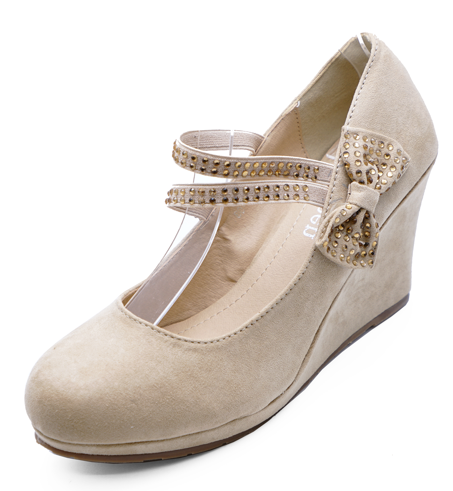 fac5e76ad0c Sentinel WOMENS BEIGE NUDE SLIP-ON BOW PARTY WEDGES PLATFORM COURT SHOES  PUMPS SIZE 3-