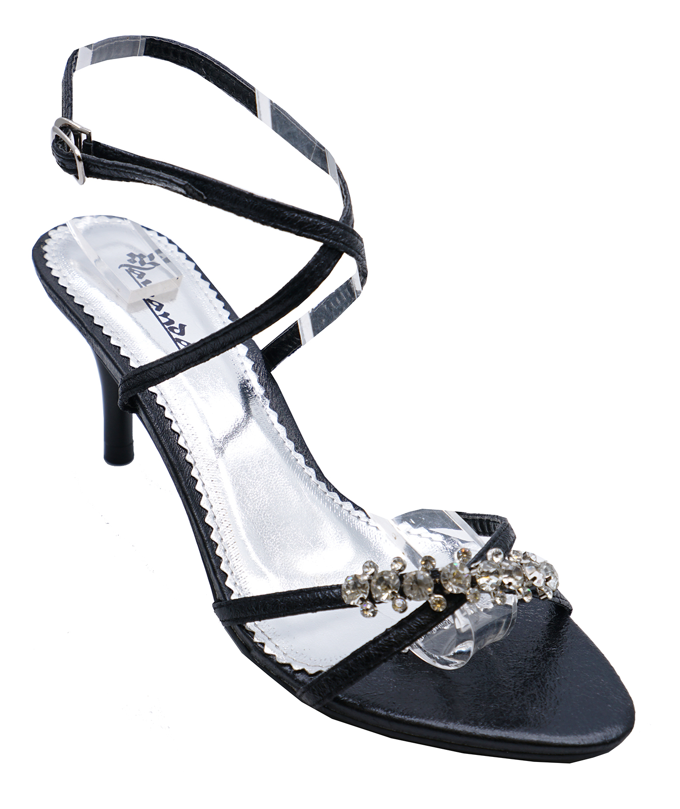85d09f2b20f9 Details about WOMENS BLACK WEDDING STRAPPY PROM BRIDESMAID DIAMANTE SANDALS  SHOES SIZES 3-8
