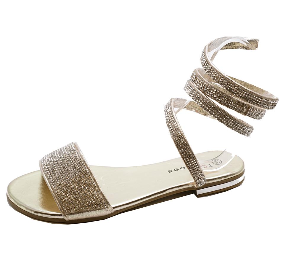Party 8 Womens Sandals Prom Size Flat Evening Wedding flop Diamante Gold 3 Flip FBEOA