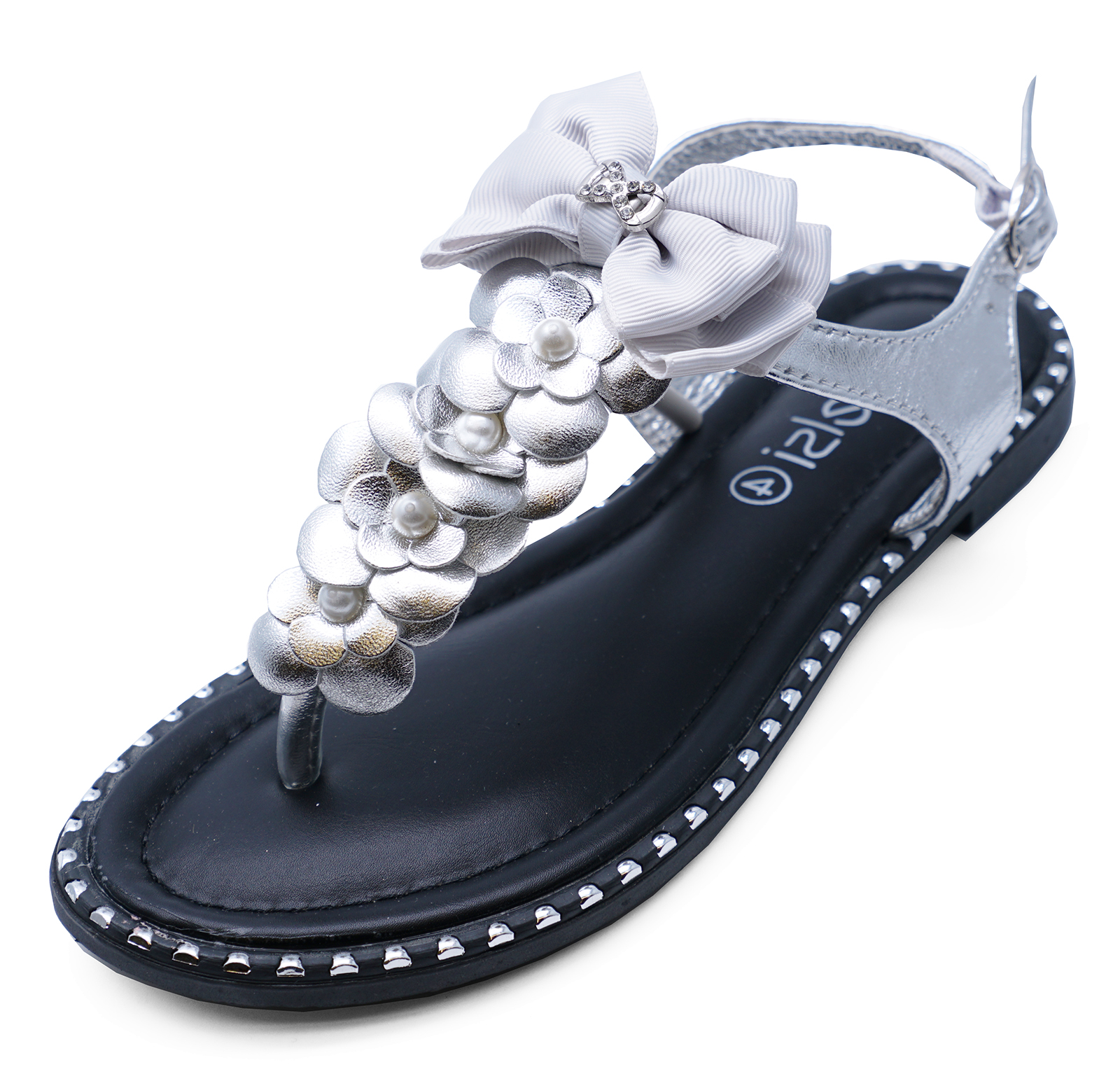 8fe9855add73c Sentinel LADIES SILVER T-BAR FLAT FLOWER FLIP-FLOP COMFY SUMMER THONG SANDALS  SHOES 3