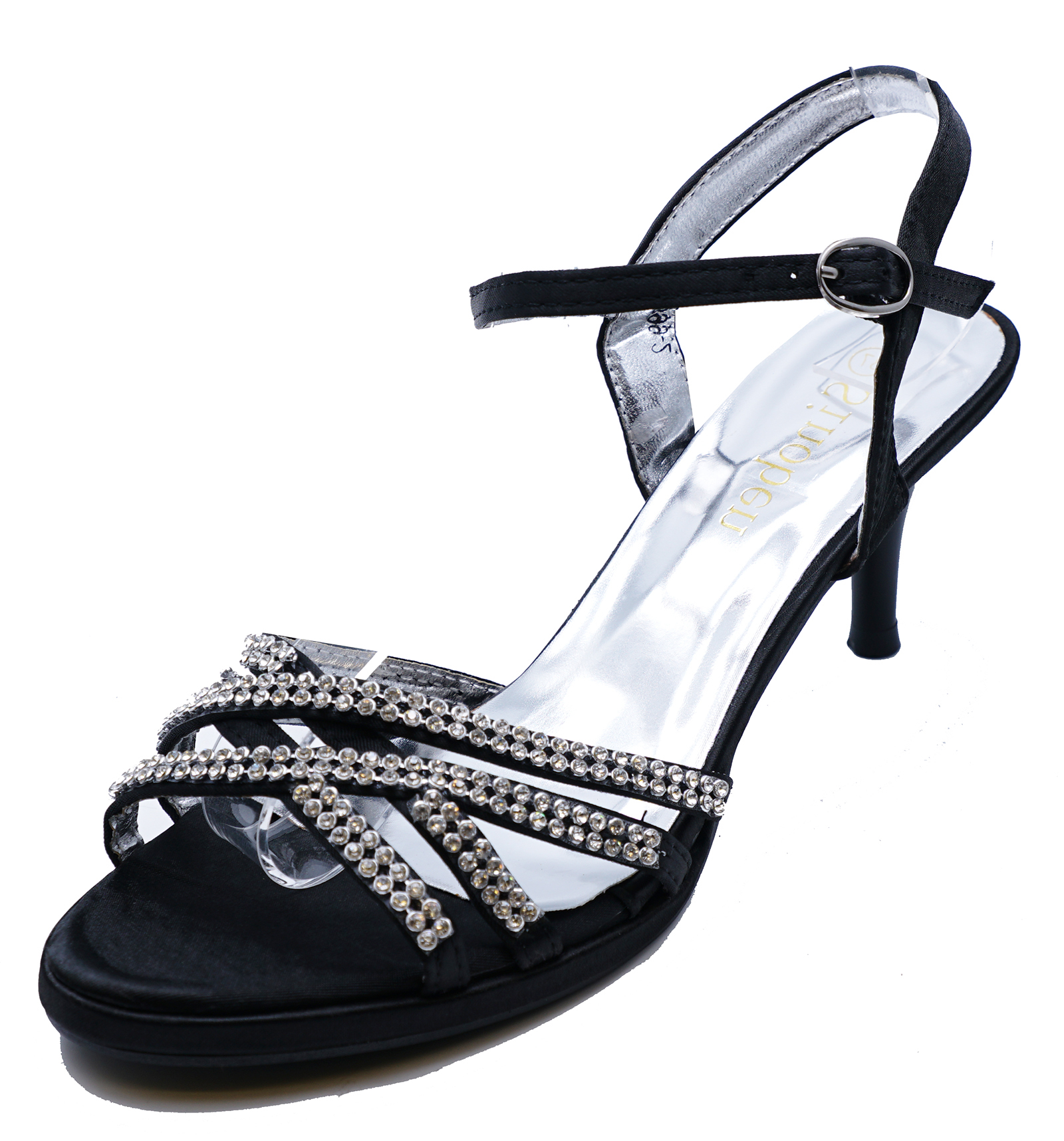 0047bb818 Sentinel LADIES BLACK DIAMANTE SANDALS MID-HEEL WEDDING PARTY EVENING PROM SHOES  SIZE 3-8
