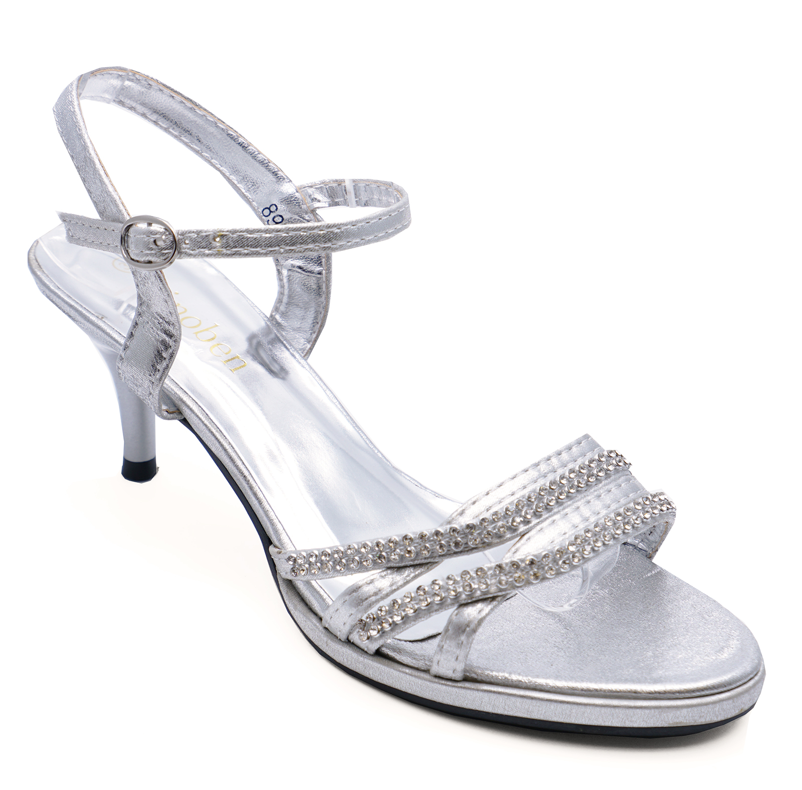 3638199fb297 Details about LADIES SILVER DIAMANTE WEDDING PARTY EVENING PROM STRAPPY SANDALS  SHOES SIZE 3-8