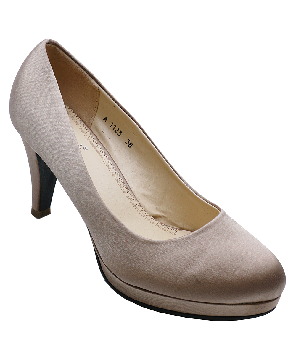 Ladies Dark Gold Satin Slip-On Smart Work Wedding Party Court Shoes Sizes 3-8