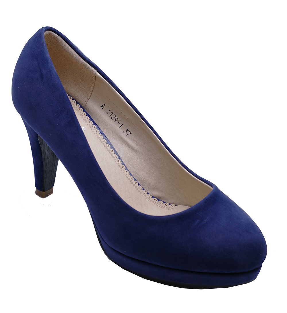 abf36d96793 Details about WOMENS NAVY BLUE HIGH-HEEL WEDDING PROM SLIP-ON SUEDETTE COURT  SHOES SIZES 3-8
