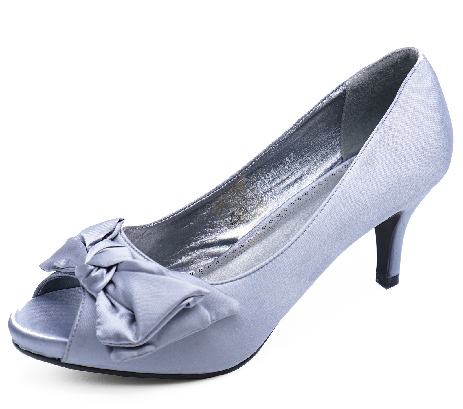 f1939d160 Sentinel WOMENS SILVER SATIN OPEN-TOE SLIP-ON MID HEEL COURT SMART WORK SHOES  SIZES. Sentinel Thumbnail 3