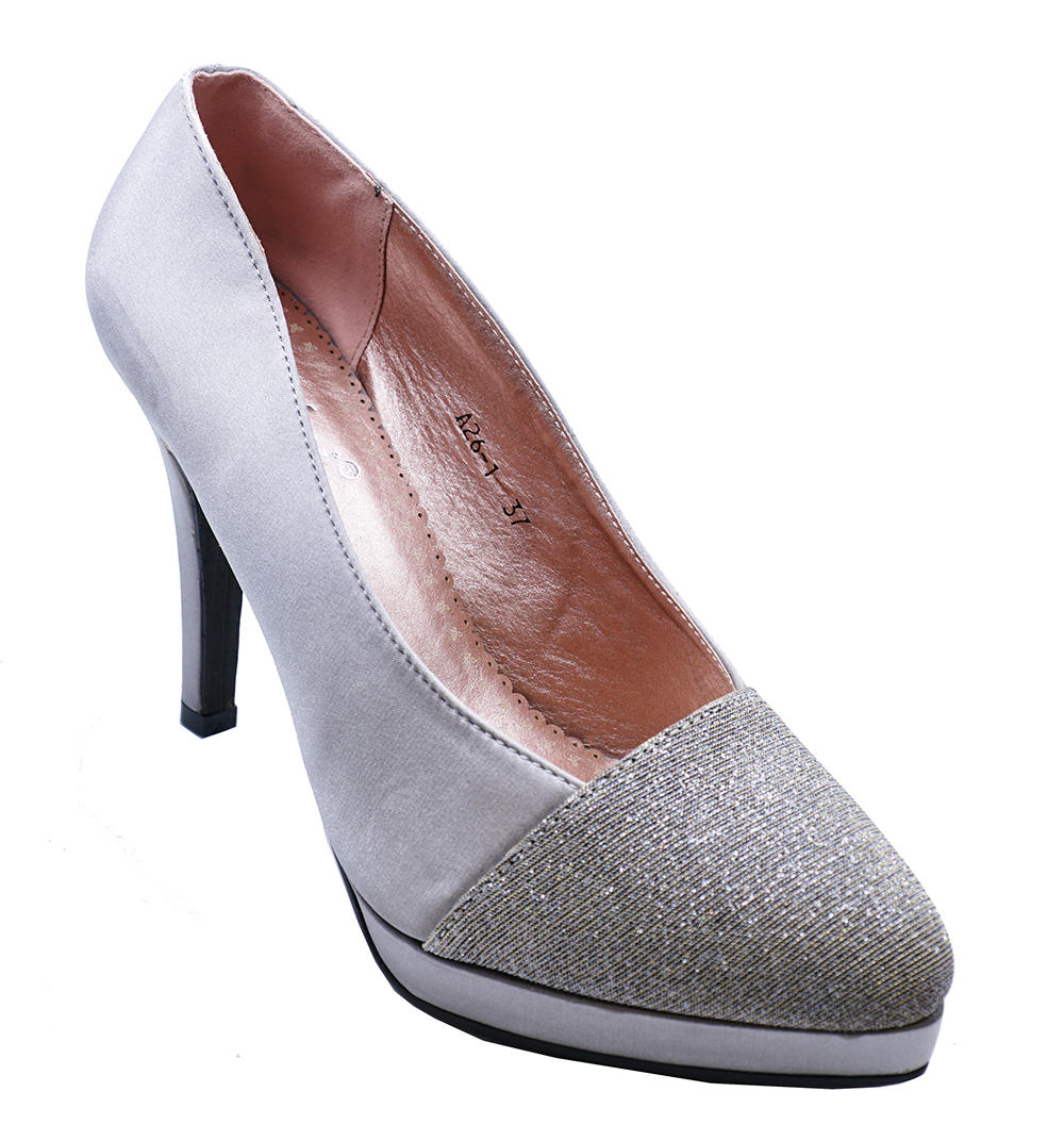 34059cba8f4b Details about womens pewter satin slip on court evening party prom wedding  shoes size jpg 1000x1072
