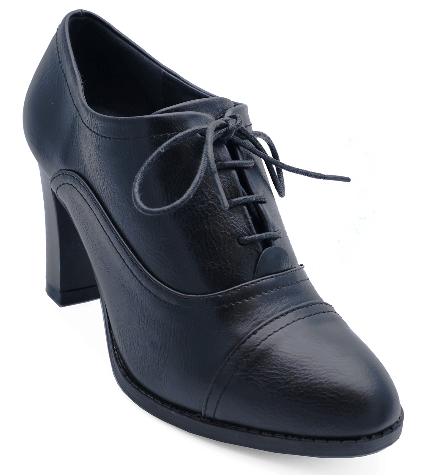Details about WOMENS BLACK LACE-UP BROGUE ANKLE BOOTS SMART WORK COMFY  SHOES SIZE UK 5 23173452cb