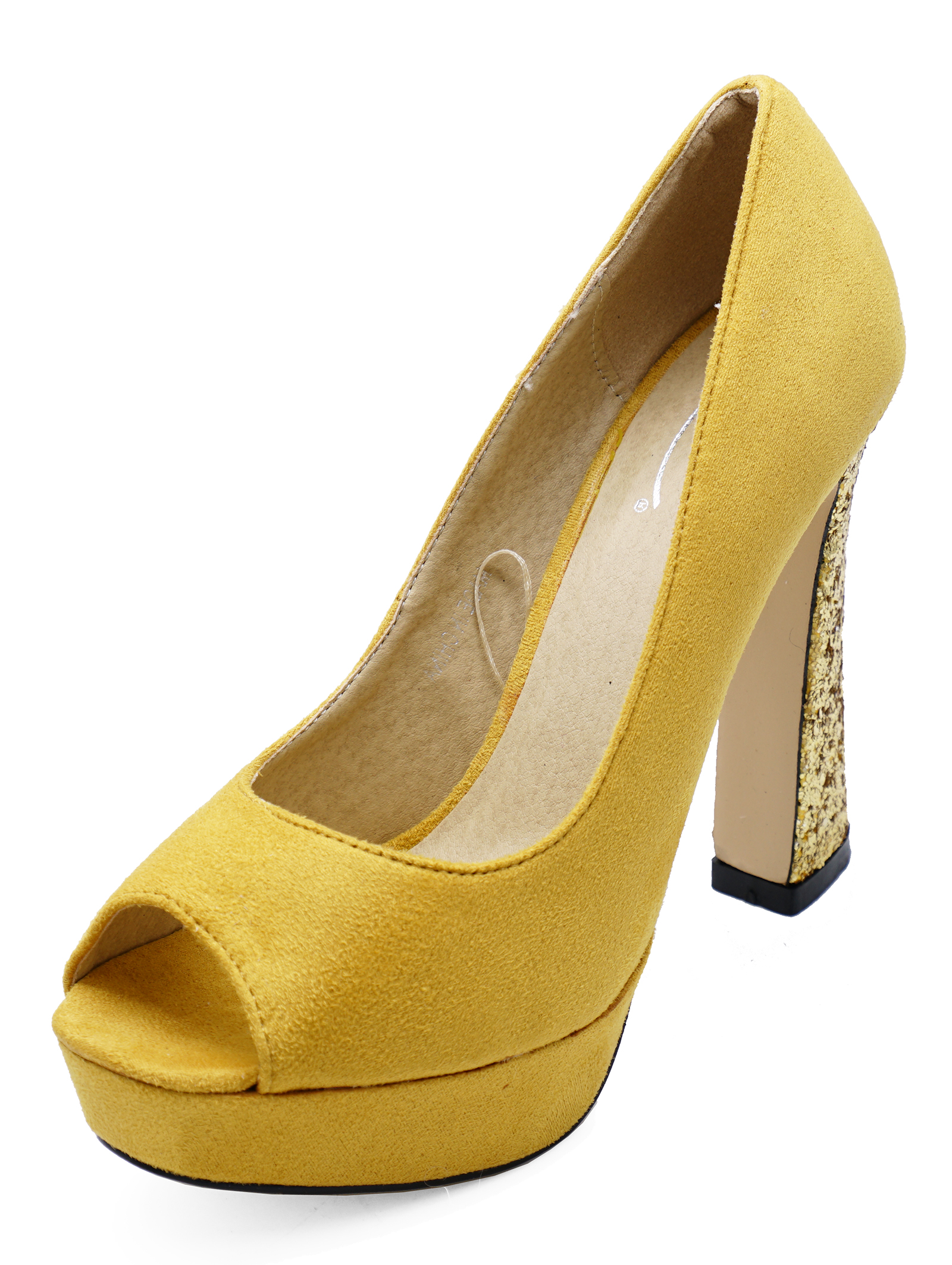 Sentinel LADIES YELLOW SLIP-ON PEEP-TOE COURT PLATFORM SMART HIGH-HEEL PROM  SHOES 1d6200e70d