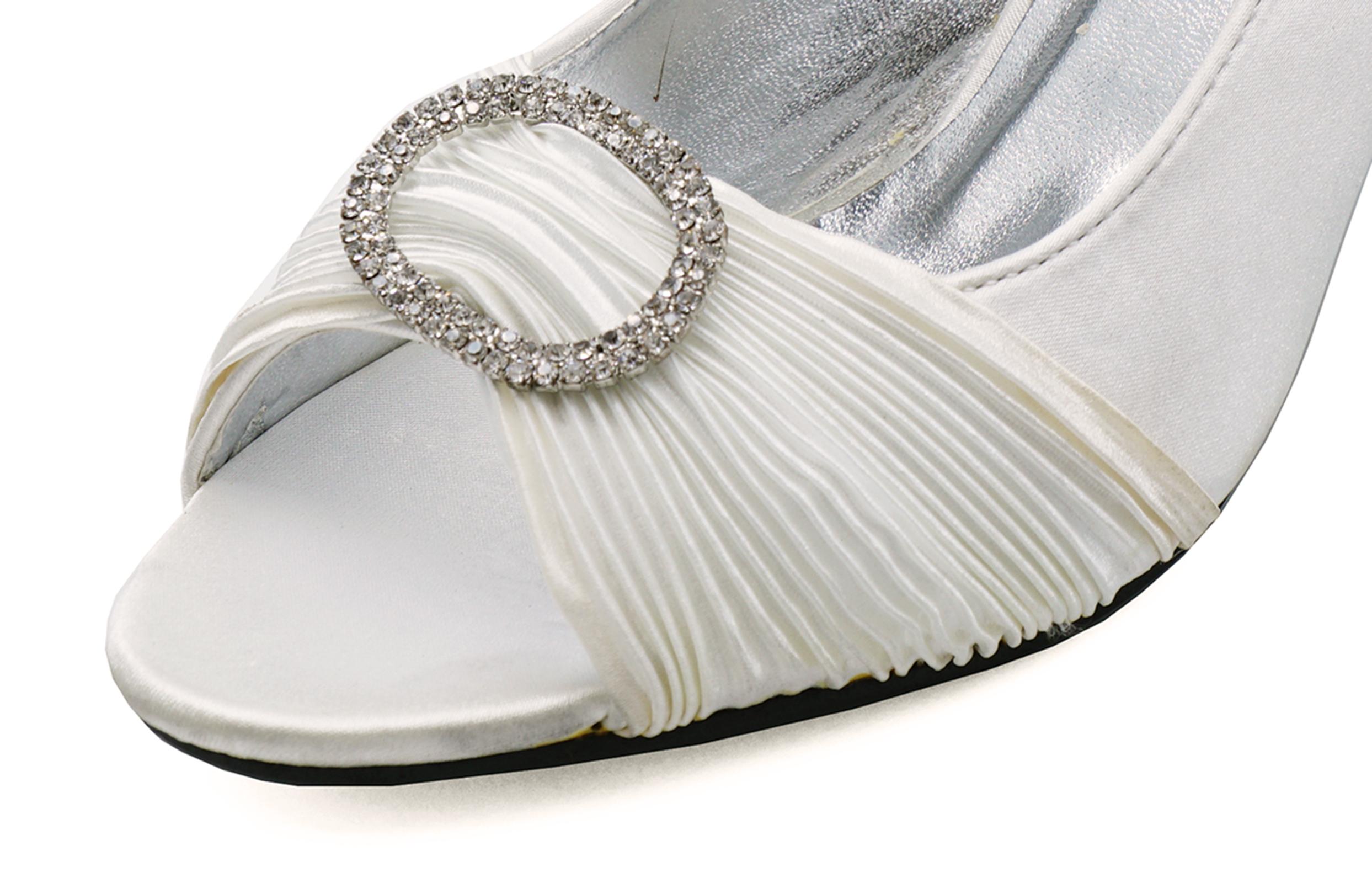 af4fb97d39eb Sentinel WOMENS IVORY SATIN BRIDAL BRIDE BRIDESMAID WEDDING COURT SHOES 3-8  [SECONDS]