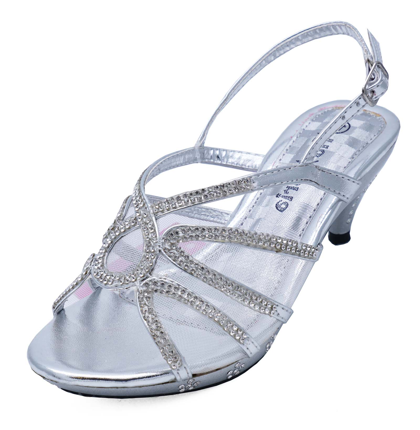 437366edff Details about GIRLS CHILDRENS SILVER DRESS-UP DIAMANTE LOW-HEEL SANDALS  PARTY SHOES SIZES 10-2