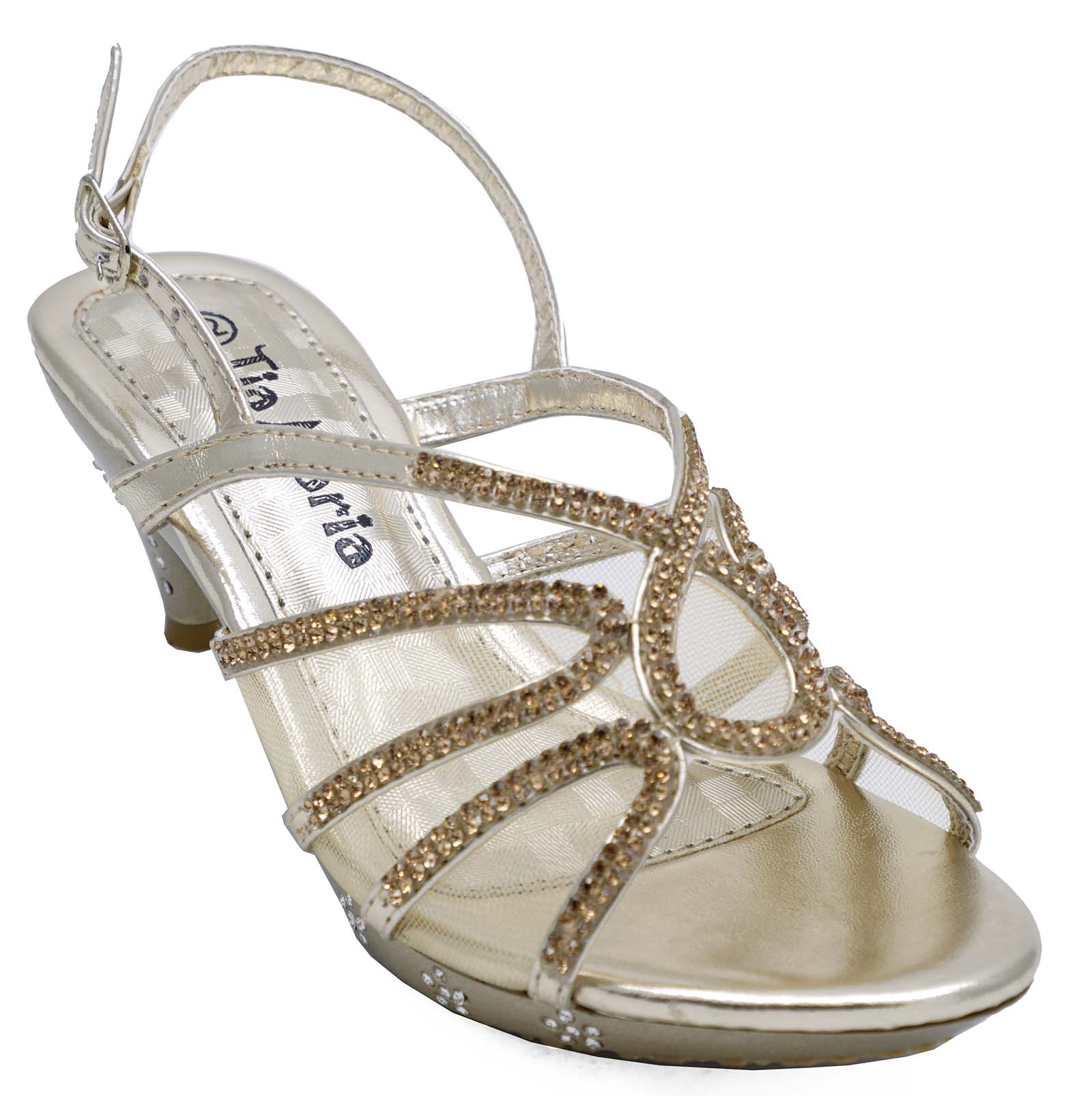 ac008f1d7 Sentinel GIRLS CHILDRENS GOLD DRESS-UP DIAMANTE LOW-HEEL SANDALS PARTY  SHOES SIZES 10-