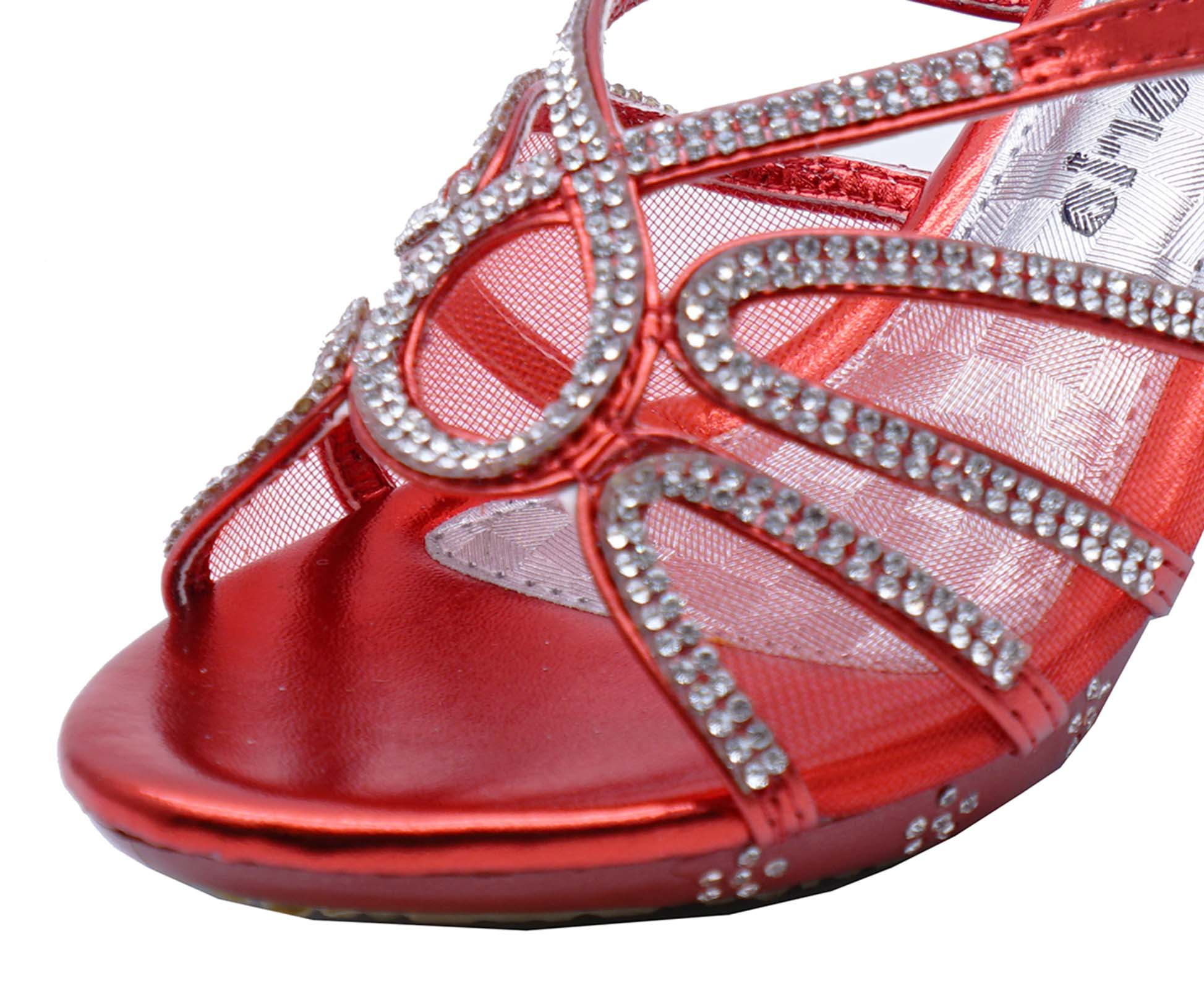 8604c828c4be GIRLS CHILDRENS RED DRESS-UP DIAMANTE LOW-HEEL SANDALS PARTY SHOES ...
