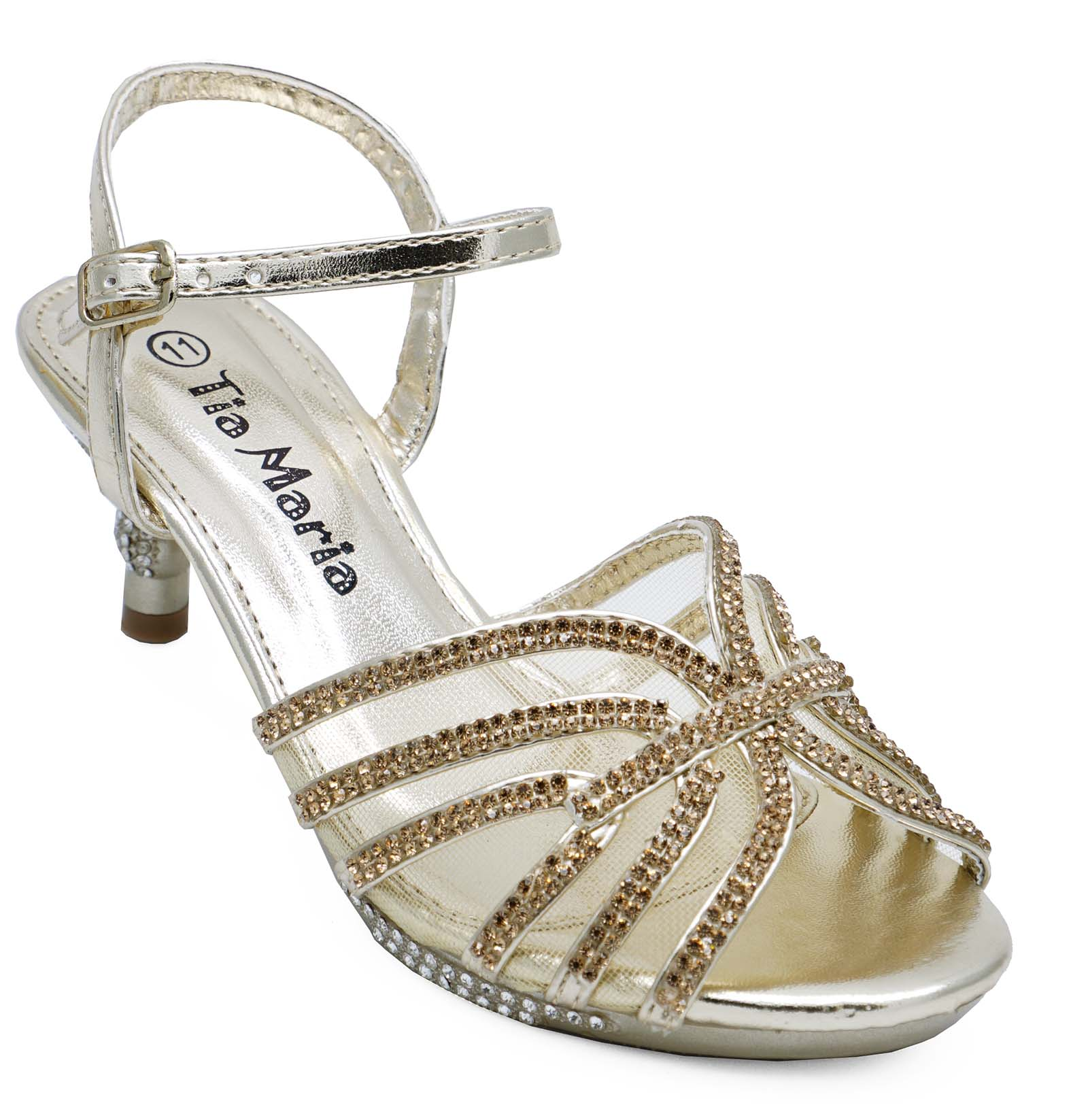 cf3cf76e7 Sentinel GIRLS CHILDRENS GOLD DIAMANTE LOW-HEEL SANDALS PRETTY PARTY DRESS  SHOES UK 10-2