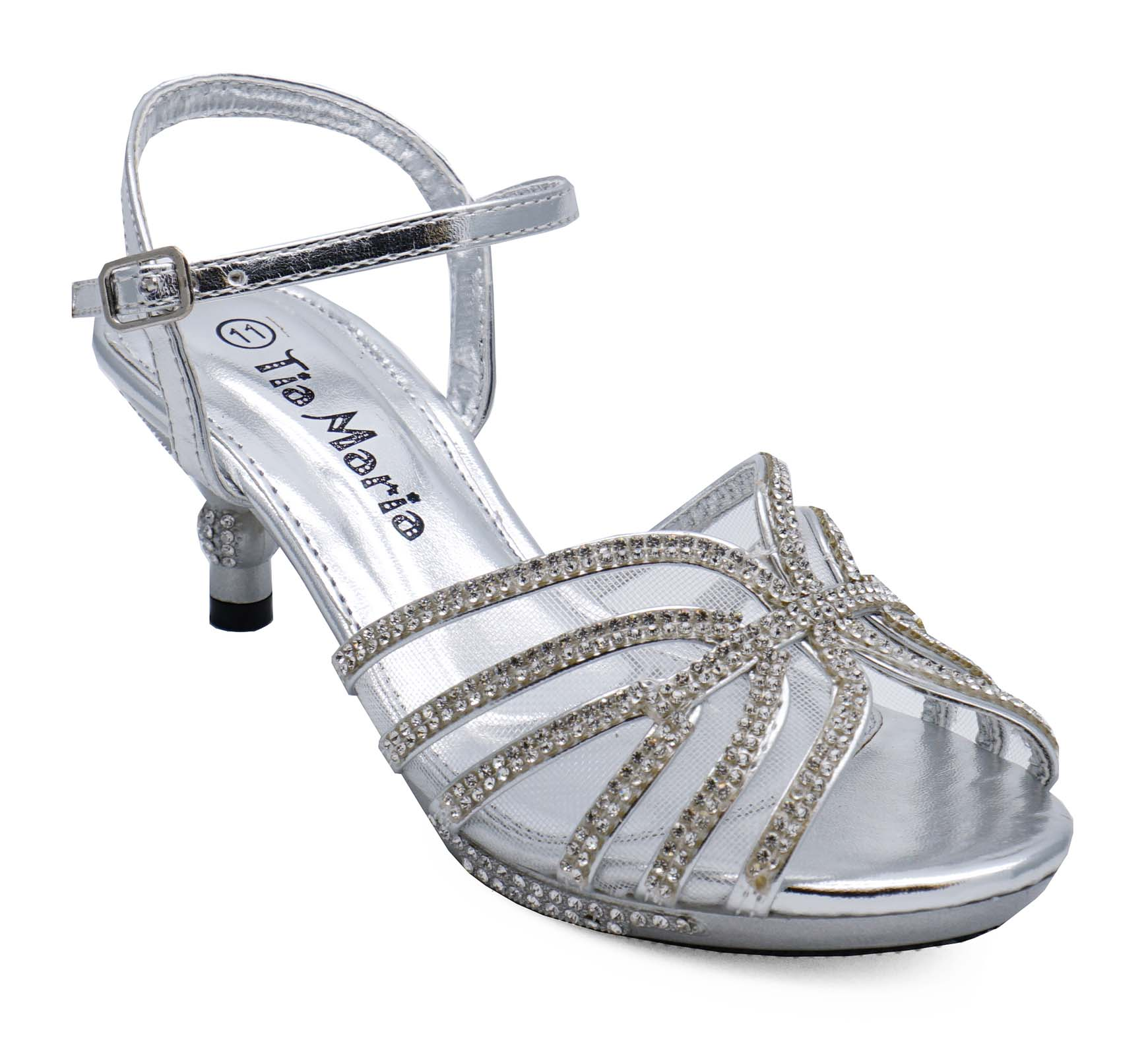 f4c0bdcbe Sentinel GIRLS CHILDRENS SILVER DIAMANTE LOW-HEEL SANDALS PRETTY PARTY  DRESS SHOES 10-2
