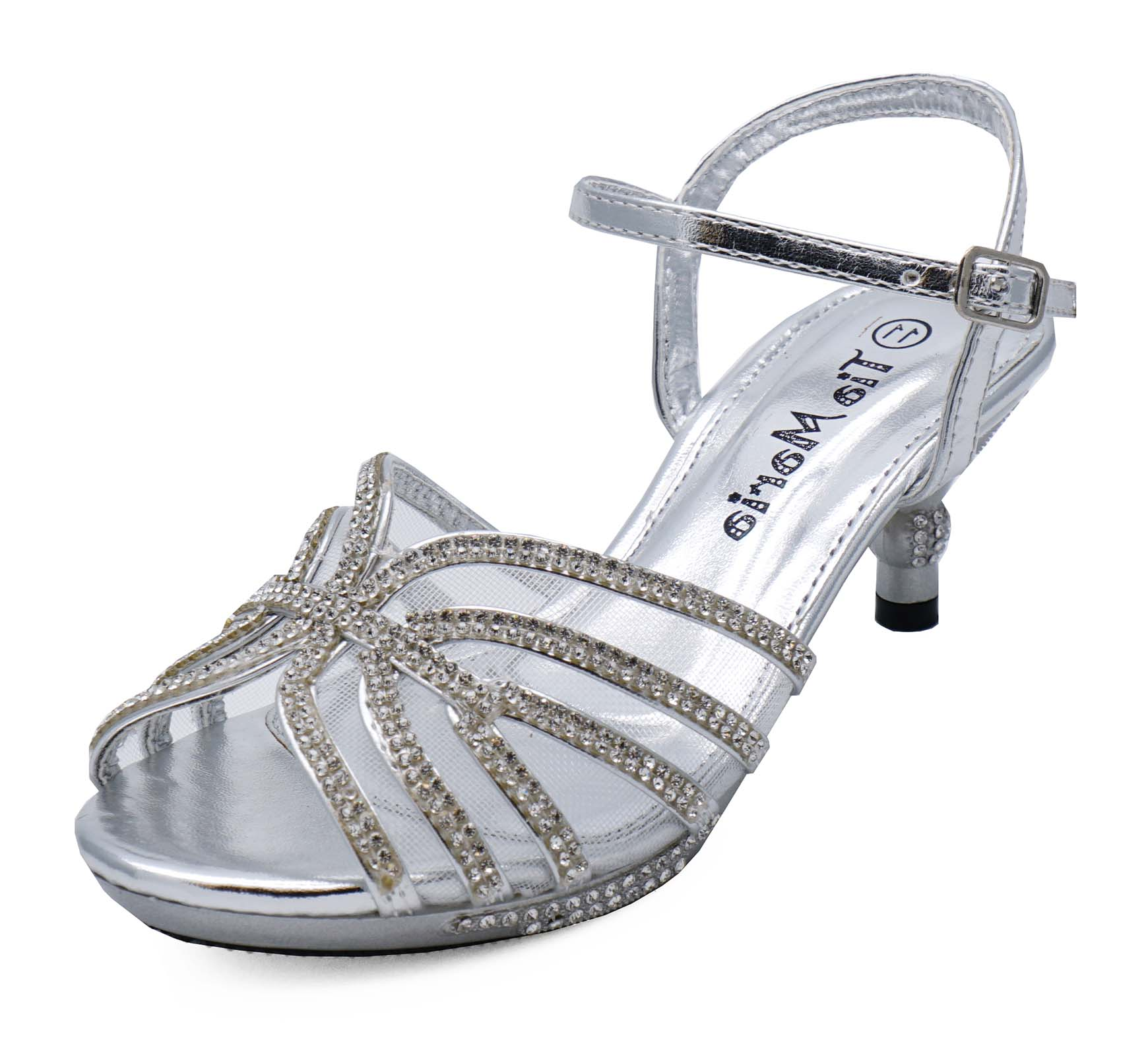 b08e8c132a Sentinel GIRLS CHILDRENS SILVER DIAMANTE LOW-HEEL SANDALS PRETTY PARTY  DRESS SHOES 10-2