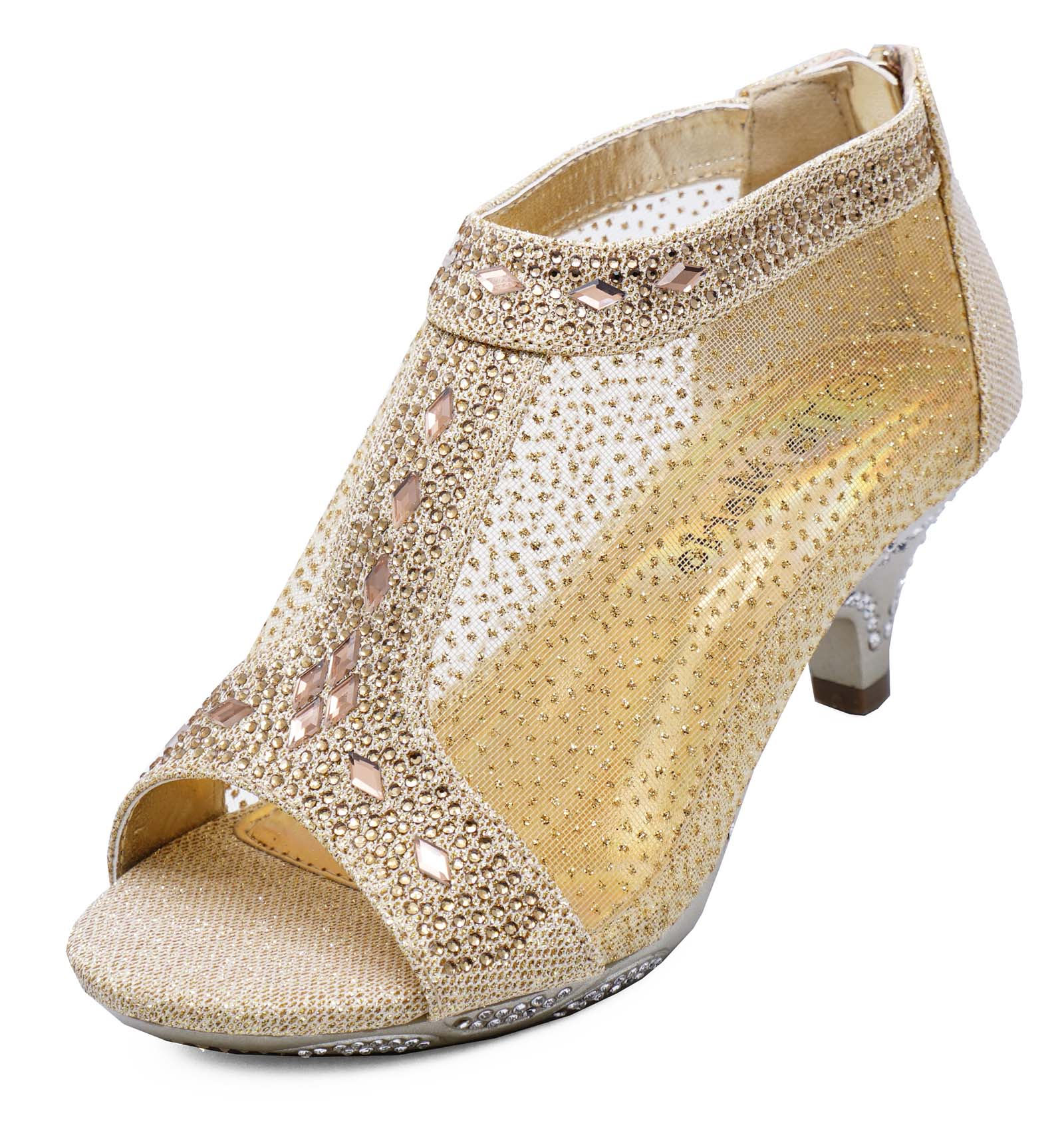 4981b04ff Sentinel GIRLS CHILDRENS GOLD PARTY ZIP KIDS LOW HEEL DIAMANTE PEEPTOE BOOTS  SHOES 10-2