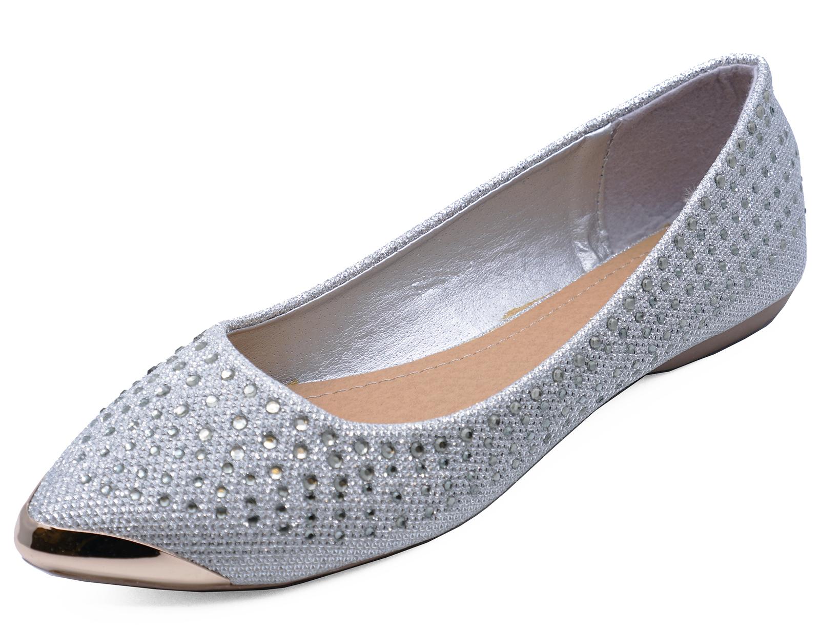88b95f673d8 WOMENS FLAT SILVER SLIP-ON WEDDING BRIDESMAID BRIDAL COMFY SHOES ...