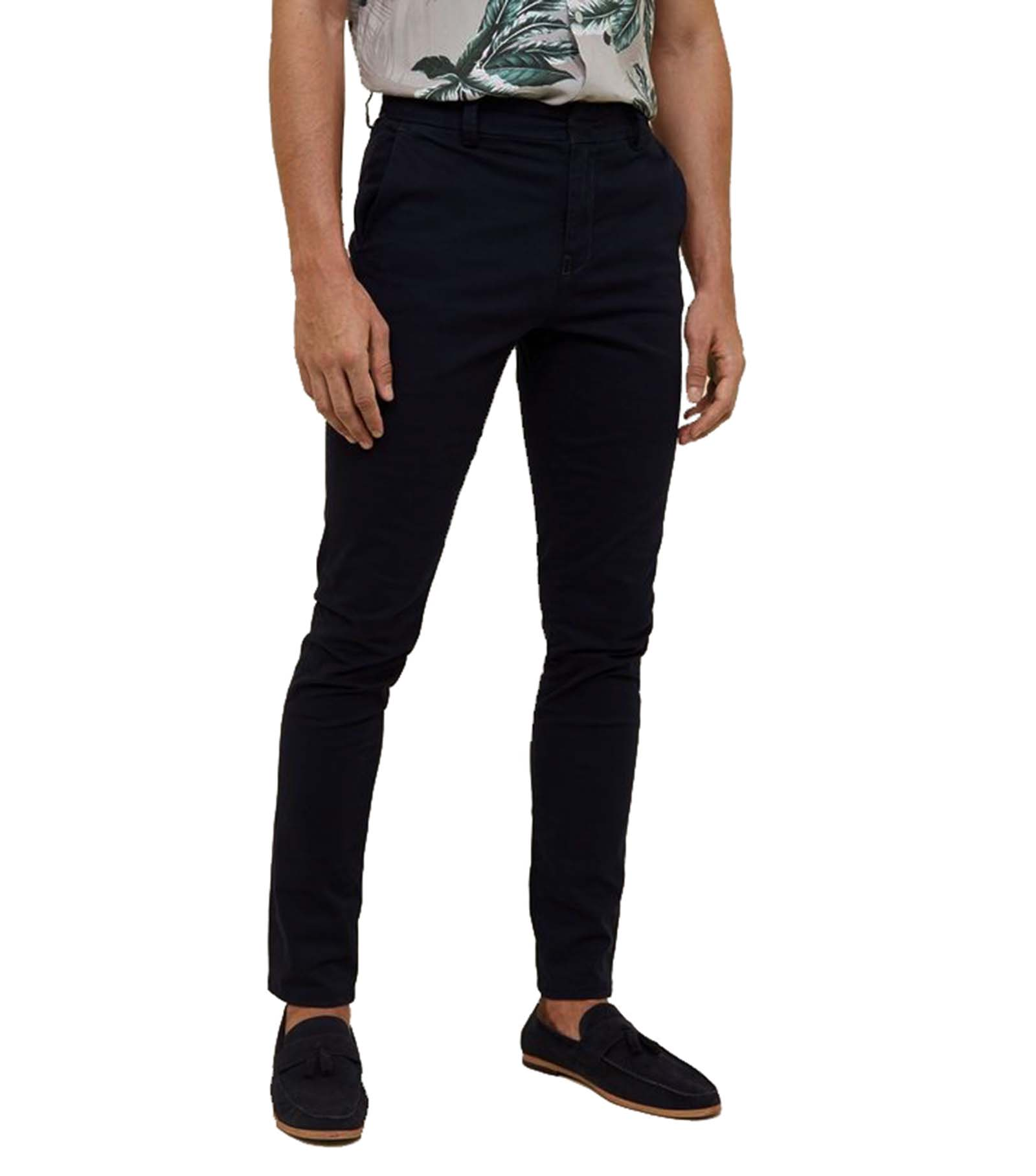 239e544aae Sentinel MENS BLACK SKINNY FIT CHINOS LONG PANTS SMART CASUAL WORK TROUSERS  - ALL SIZES