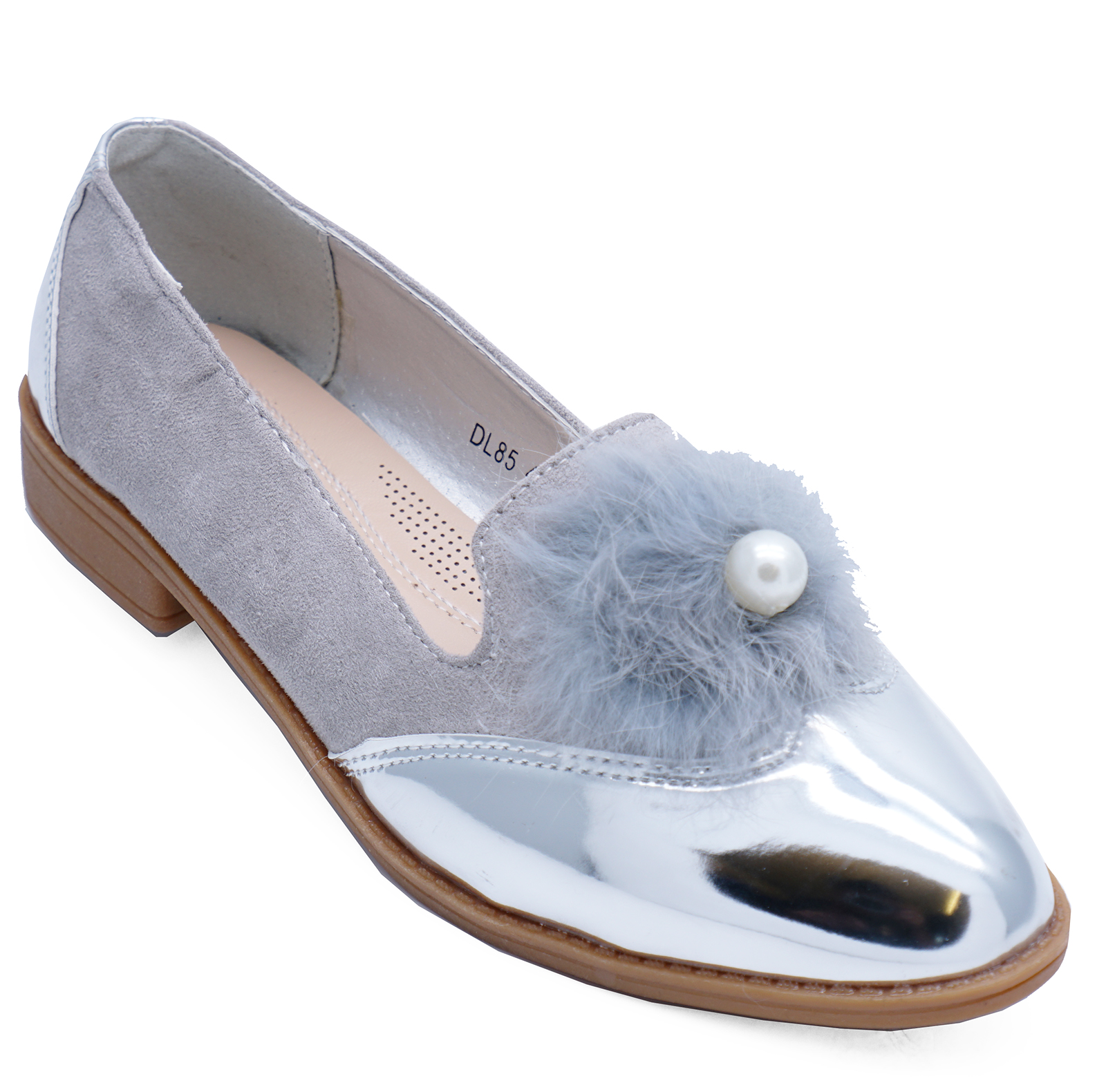 e0ec48d7a52 Sentinel LADIES SILVER SLIP-ON METALLIC LOAFERS SMART CASUAL WORK COMFY  FLAT SHOES UK 3-