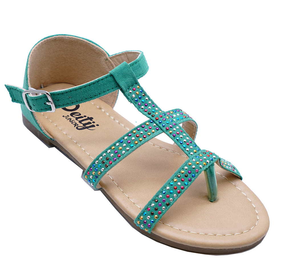 GIRLS CHILDRENS FLAT GREEN OPEN-TOE COMFY HOLIDAY SANDALS SHOES JUNIOR SIZES 12