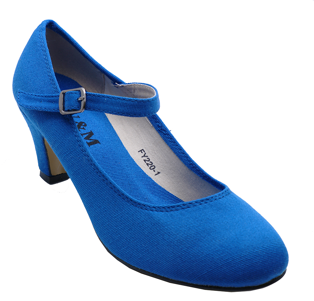 64cdb696db1 WOMENS BLUE KITTEN-HEEL 50 s STYLE COMFY DANCE SLIP-ON COURT SHOES ...