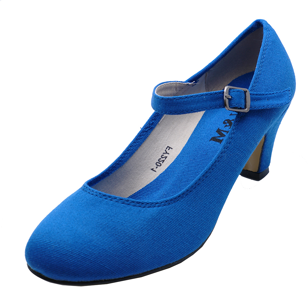 2783ab54eb2 Sentinel WOMENS BLUE KITTEN-HEEL 50 s STYLE COMFY DANCE SLIP-ON COURT SHOES  SIZES 2