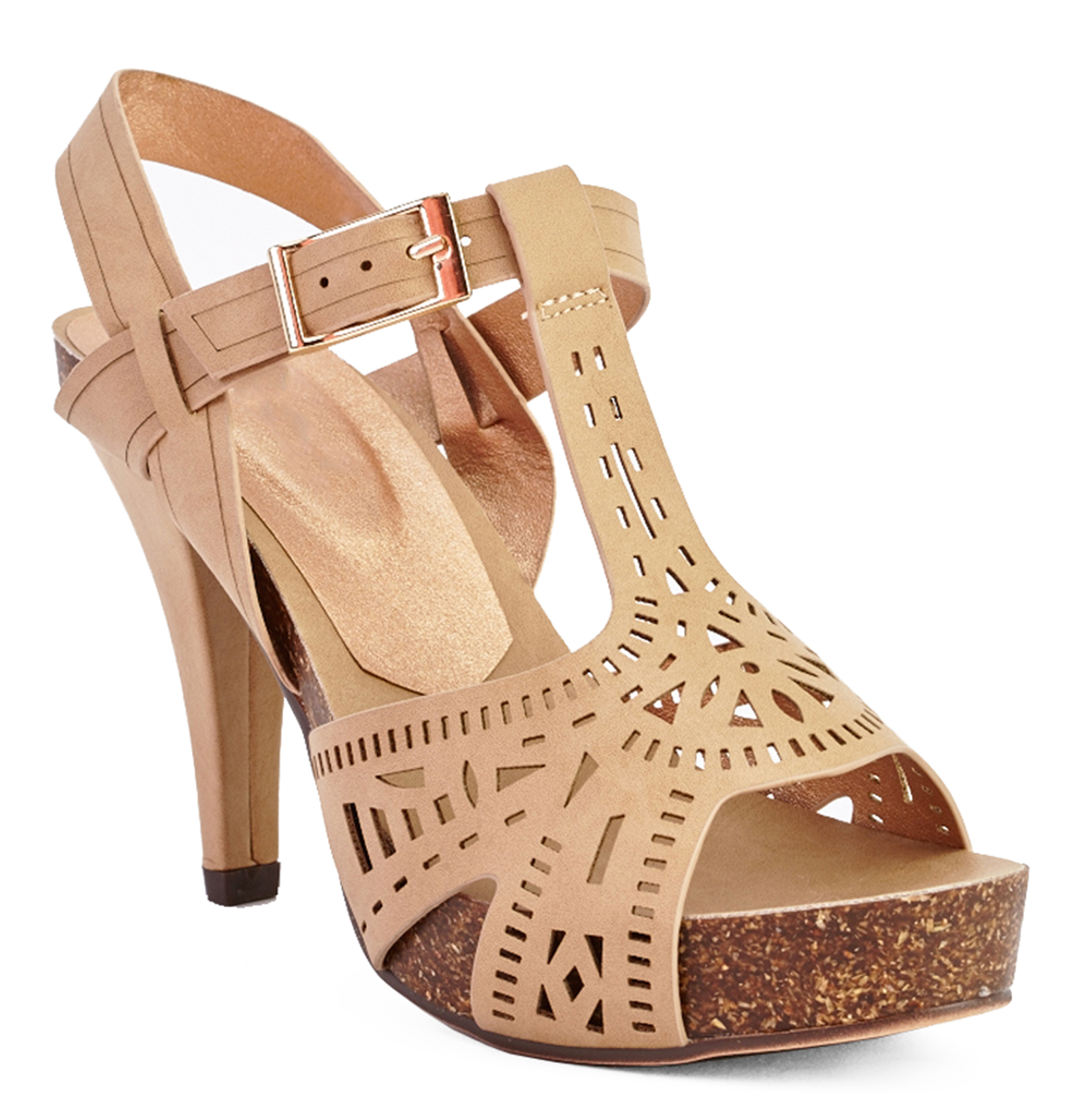 014243d5114 Sentinel LADIES TAN STRAPPY GLADIATOR HIGH-HEEL T-BAR PEEP-TOE SANDALS  SHOES SIZES