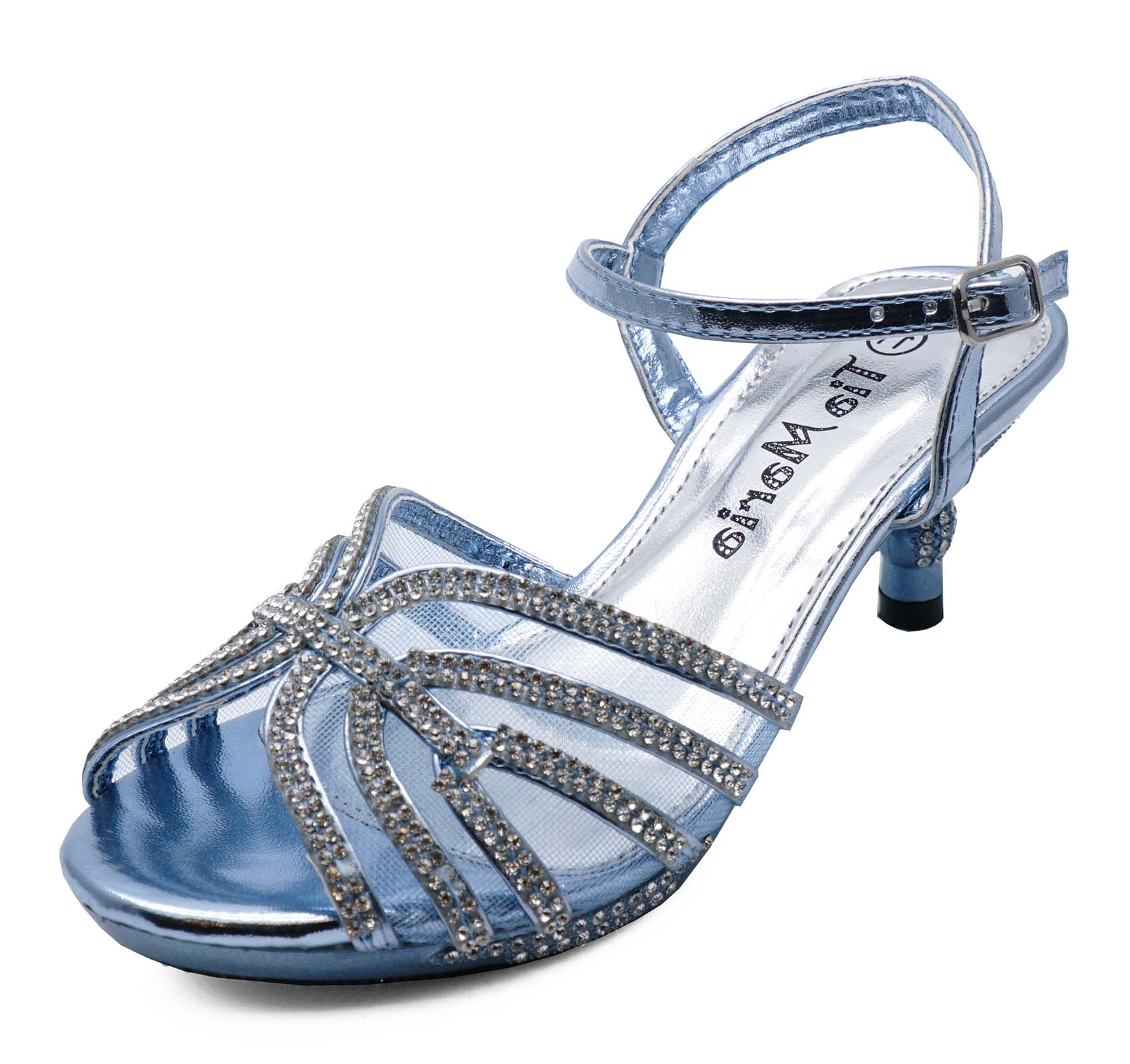 c6ba69446 Sentinel GIRLS KIDS BLUE DIAMANTE LOW-HEEL SANDALS PRETTY PARTY DRESS SHOES  UK 10-2