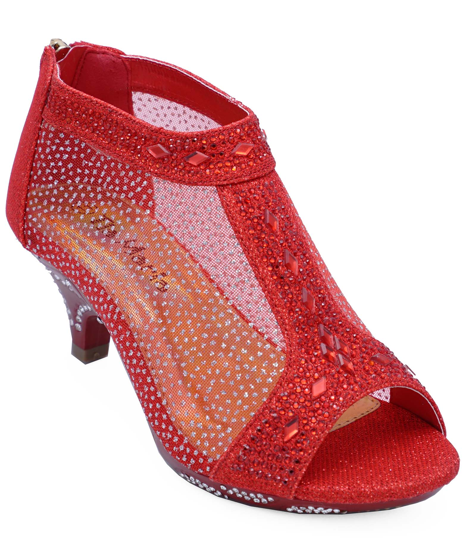 c899e3d93 Sentinel GIRLS KIDS RED PARTY ZIP KIDS LOW HEEL DIAMANTE OPEN-TOE BOOTS  SHOES 10-