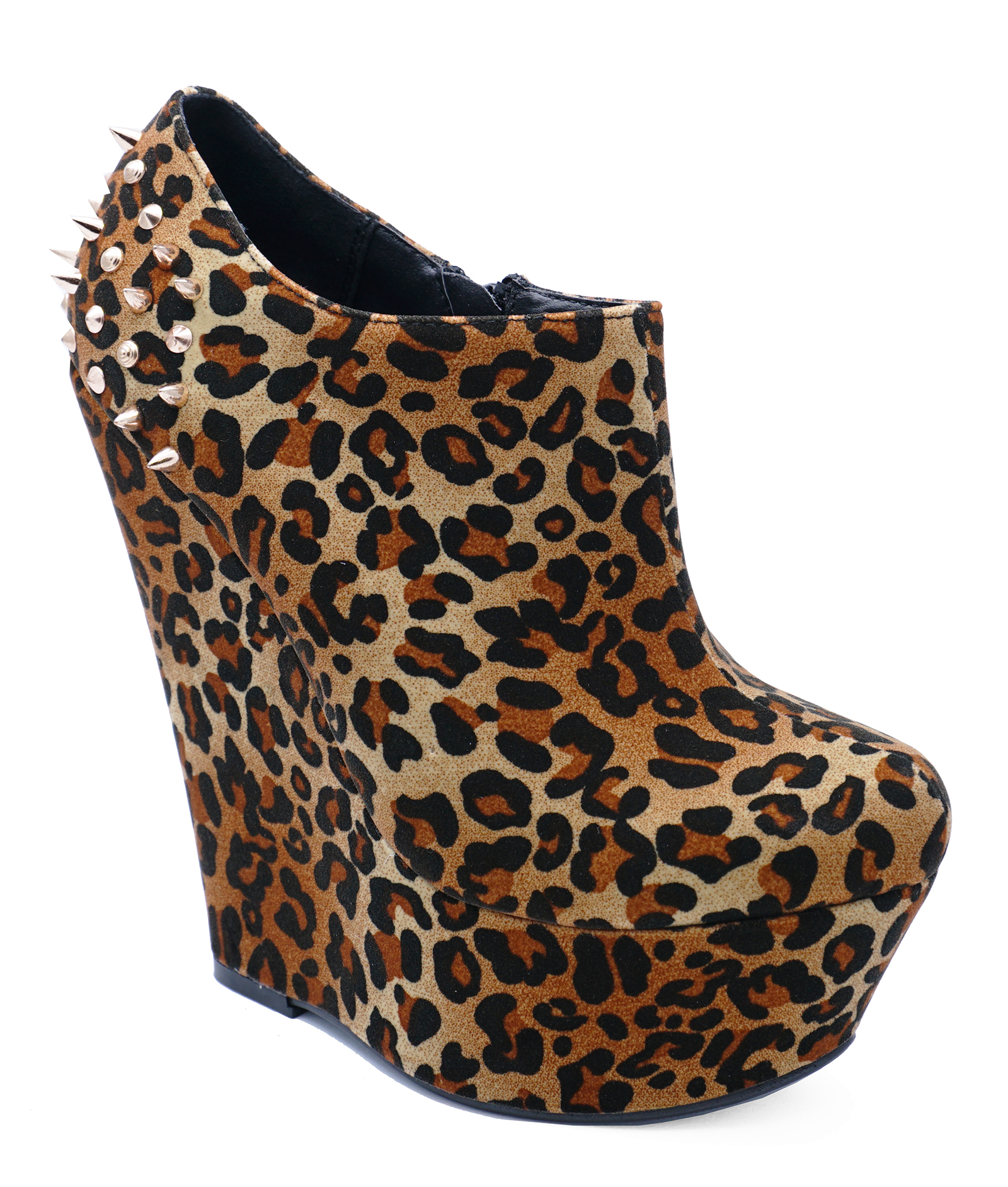 73e6a86922c8 Sentinel LADIES LEOPARD PRINT STUD WEDGES ROCK-CHICK ZIP-UP ANKLE BOOTS  SHOES SIZES 3