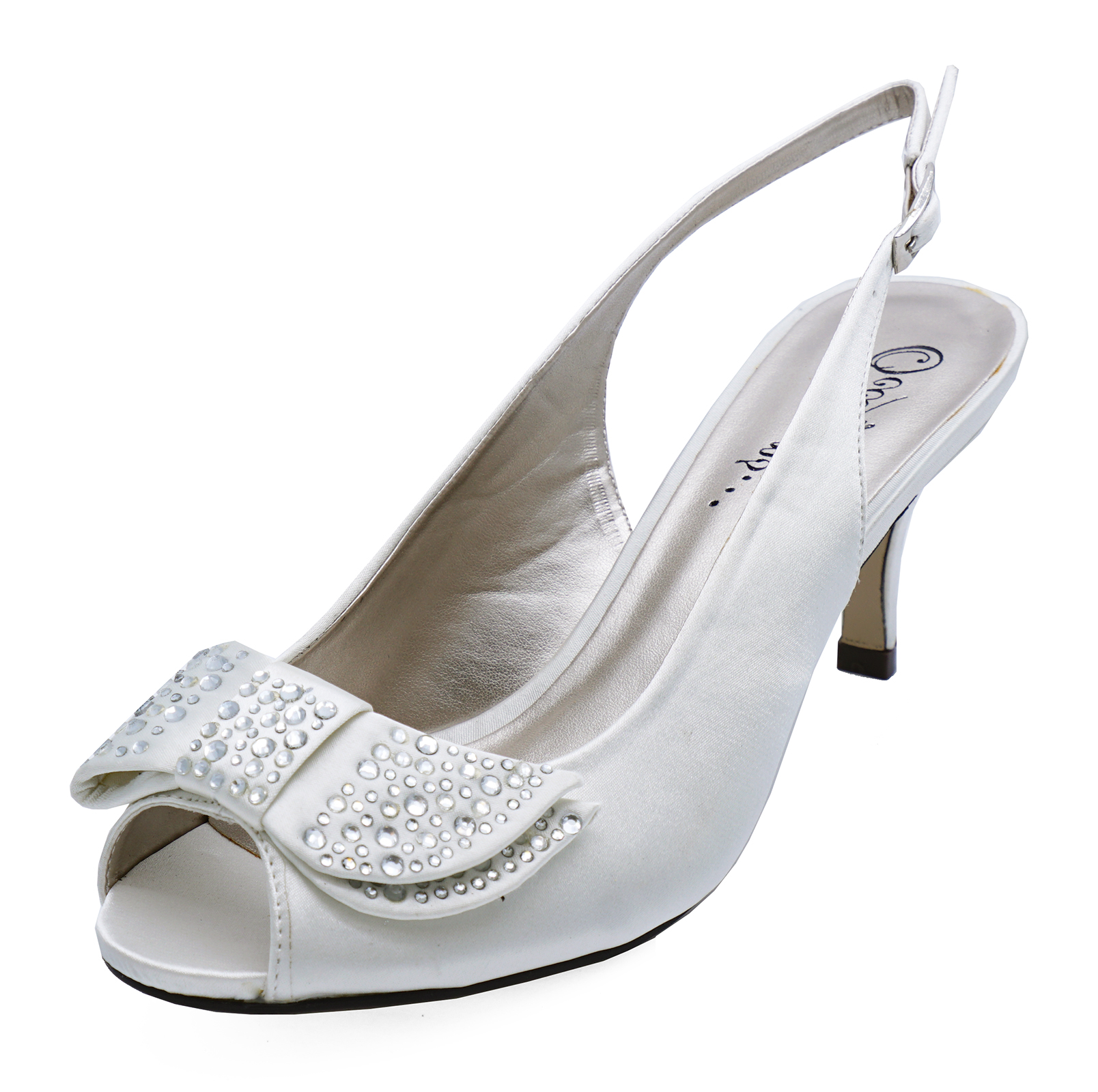 Sentinel LADIES IVORY DIAMANTE LOW-HEEL WEDDING BRIDE BRIDESMAID BRIDAL PROM SHOES UK 3-8