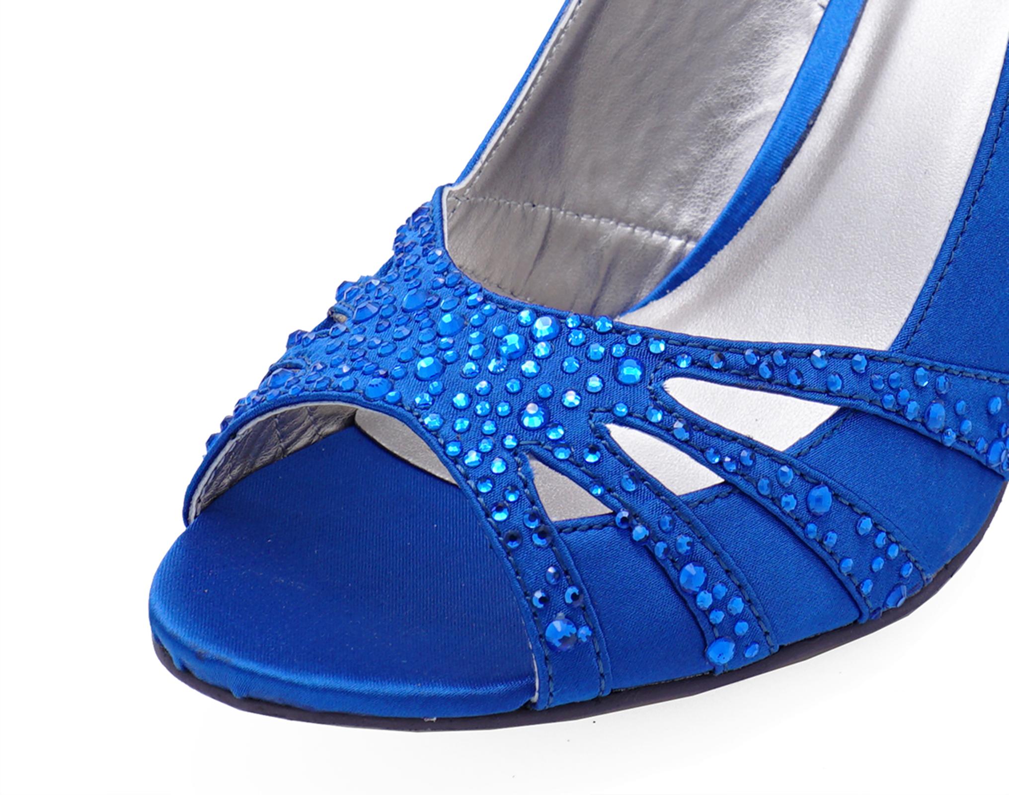 toe Prom Shoes Diamante Slingback Blue 8 Uk Wedding Open 3 Ladies Party wnxaqpCfE4