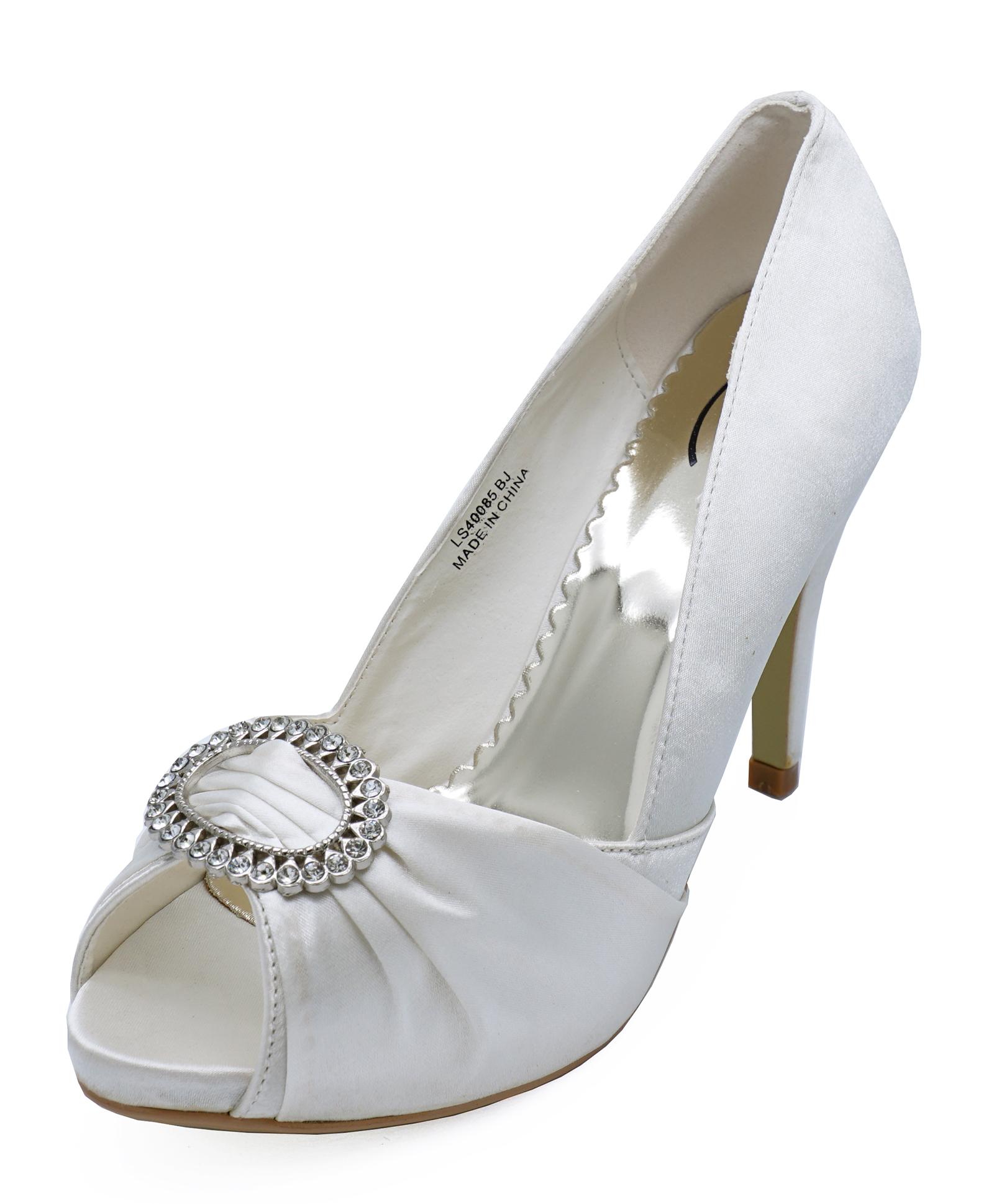 570186cc3b92 Sentinel WOMENS IVORY SATIN BRIDAL BRIDESMAID WEDDING PEEPTOE COURT SHOES  SIZES 3-8