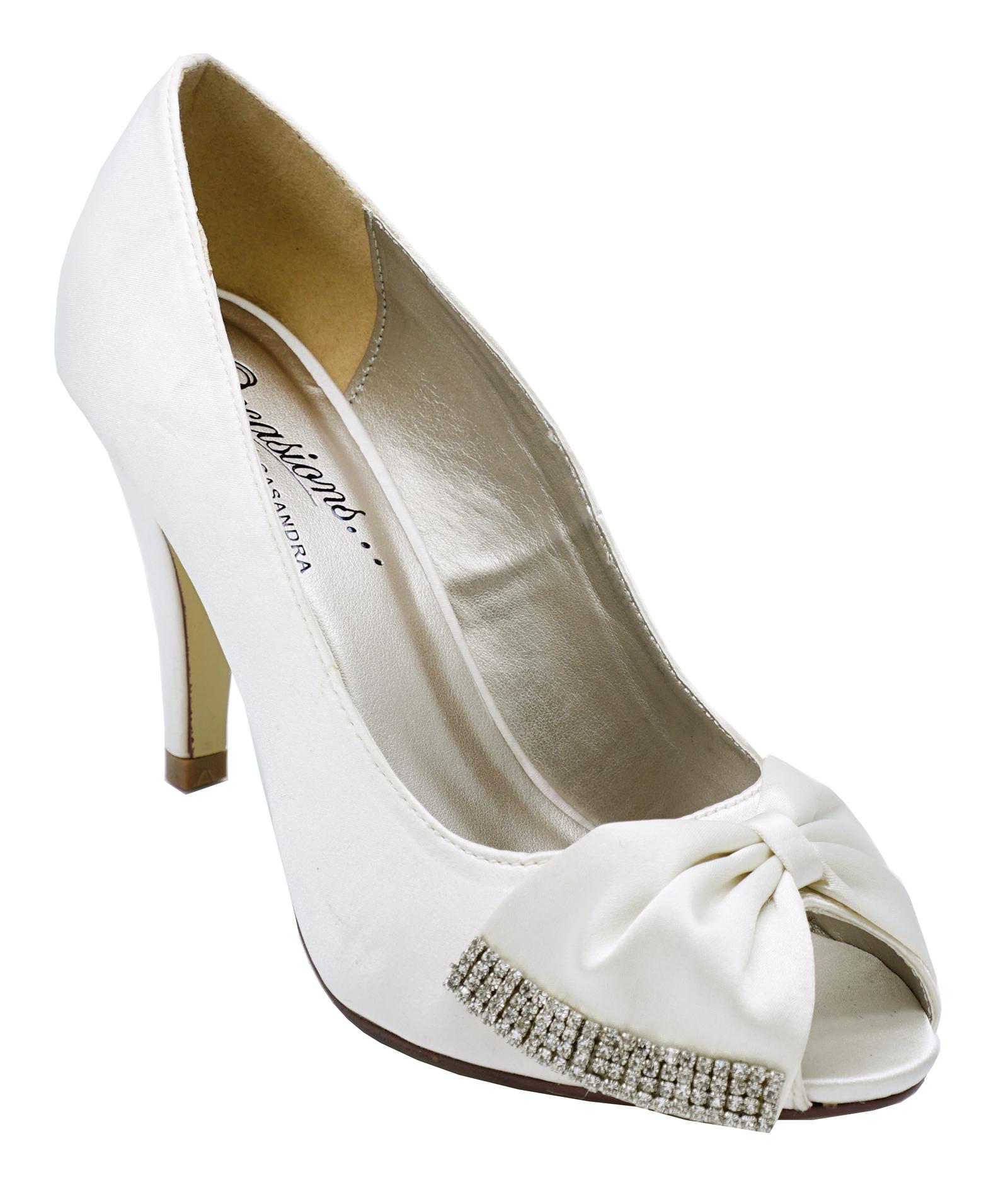 ba9a67b8b917 Sentinel LADIES IVORY SATIN BRIDAL BRIDE BRIDESMAID WEDDING PEEPTOE COURT  SHOES UK 3-8