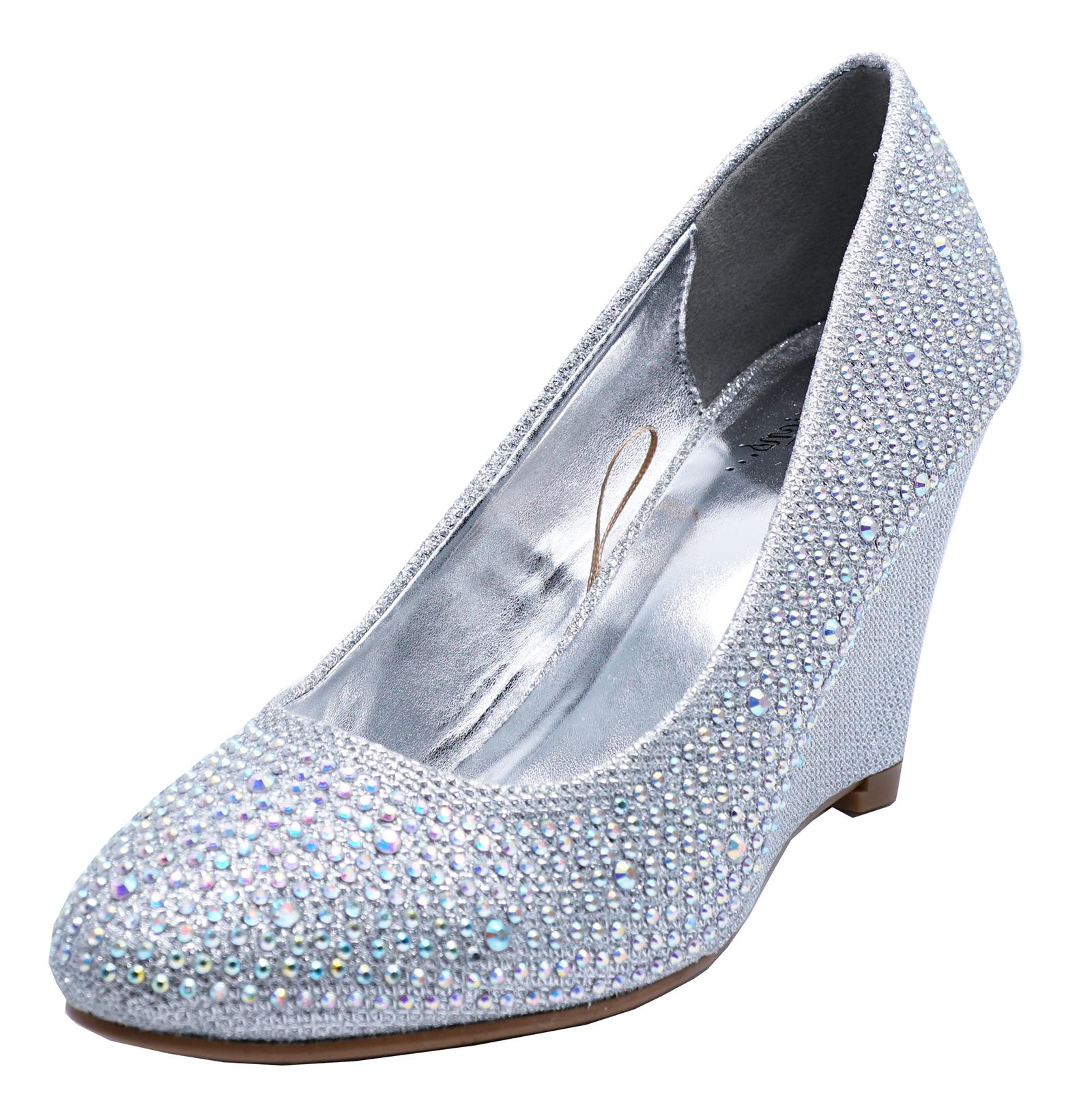 Wedding Silver Heels: WOMENS SILVER WEDDING BRIDAL BRIDESMAID PROM DIAMANTE